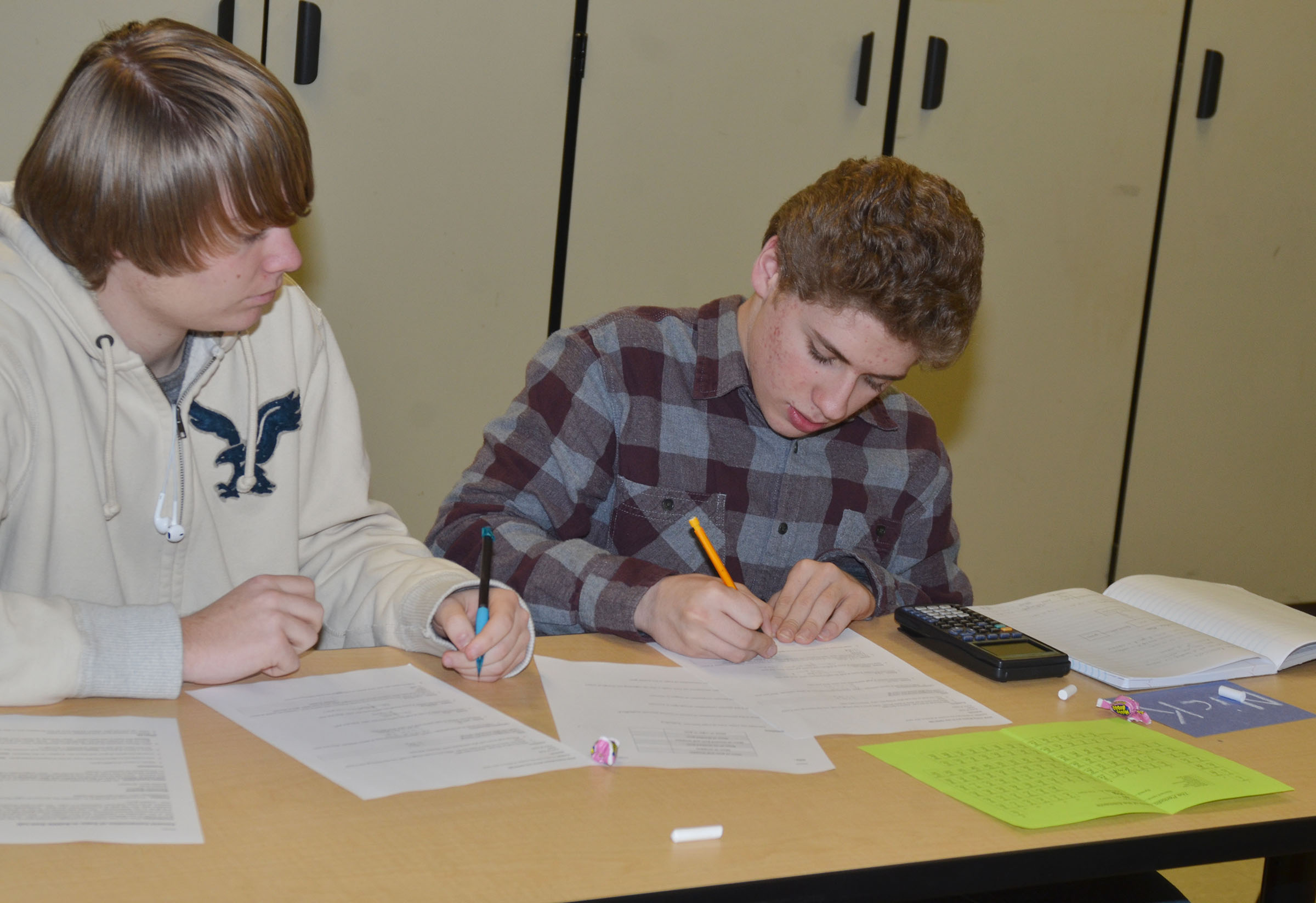 CHS juniors Nathaniel Mills, at left, and Nicholas Lefever work on their lab questions together.