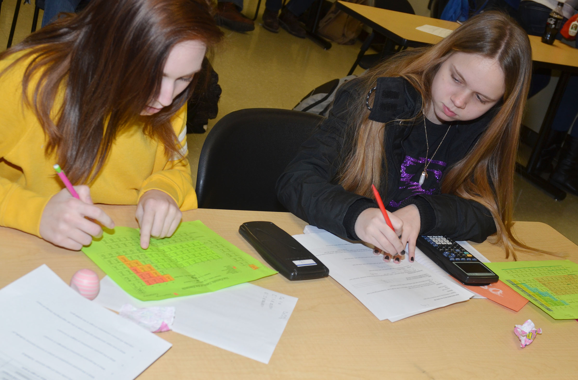 CHS juniors Jasmine Coomer, at left, and Lisa Richter work together on their lab questions.