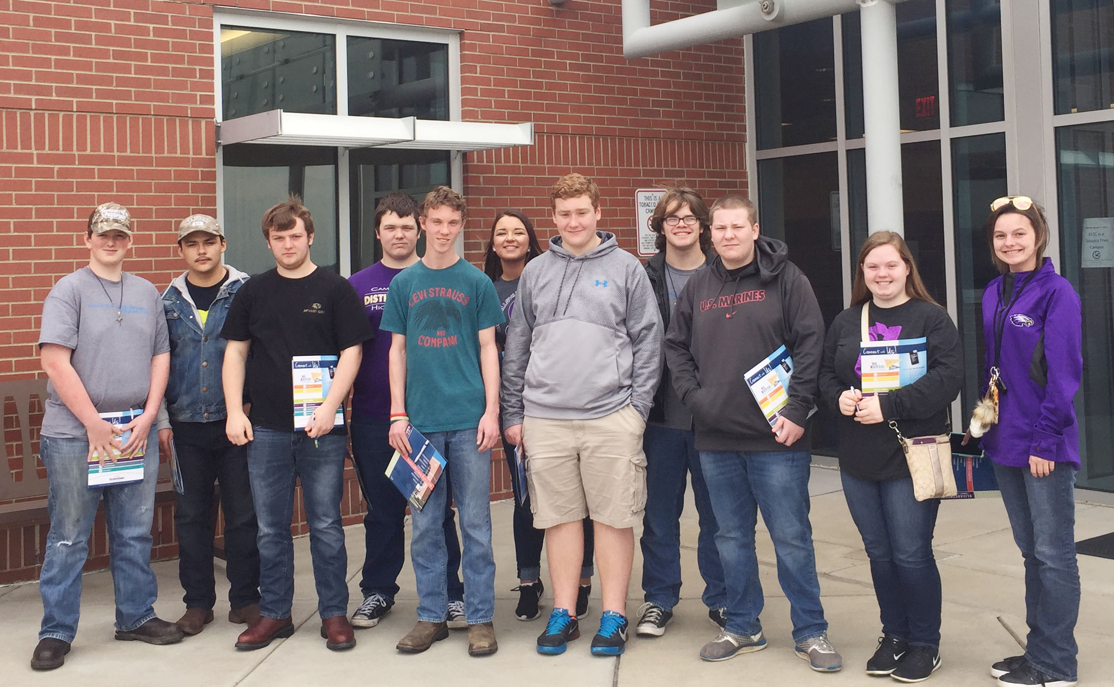 Campbellsville High School students recently visited the Elizabethtown Community & Technical College campus in Springfield. From left are sophomores Quentin Skaggs, Nick Cowan, Cody Cox, Jorden Perkins and Payton Reynolds, senior Kailey Morris, sophomores Spencer Swafford, John Netherland and Devin Pike and seniors Madison Lewis and Kyrsten Hill.