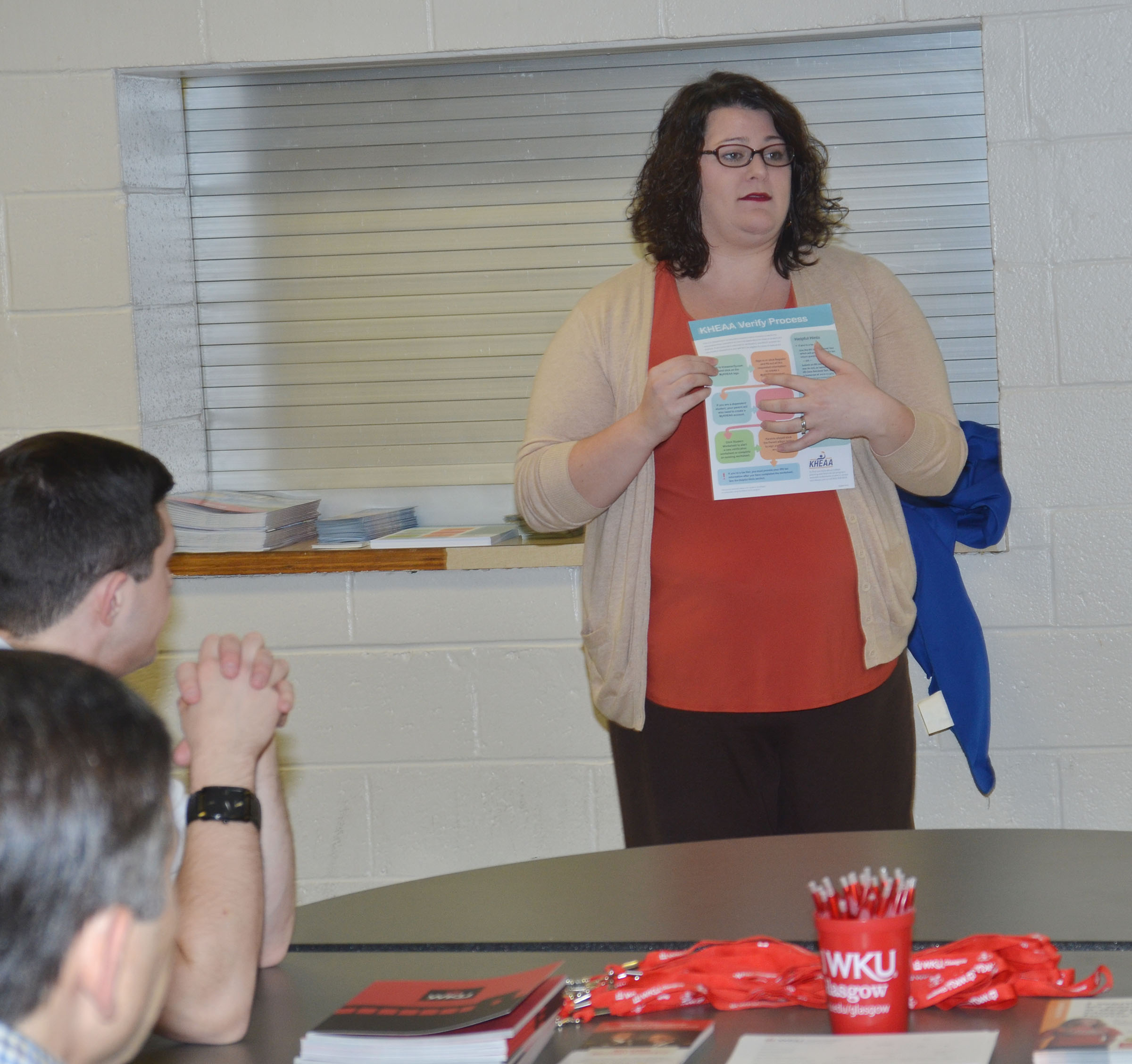 Kentucky Higher Education Assistance Authority Outreach Counselor Audrey Price talks to CHS senior students and their parents about KEES money.