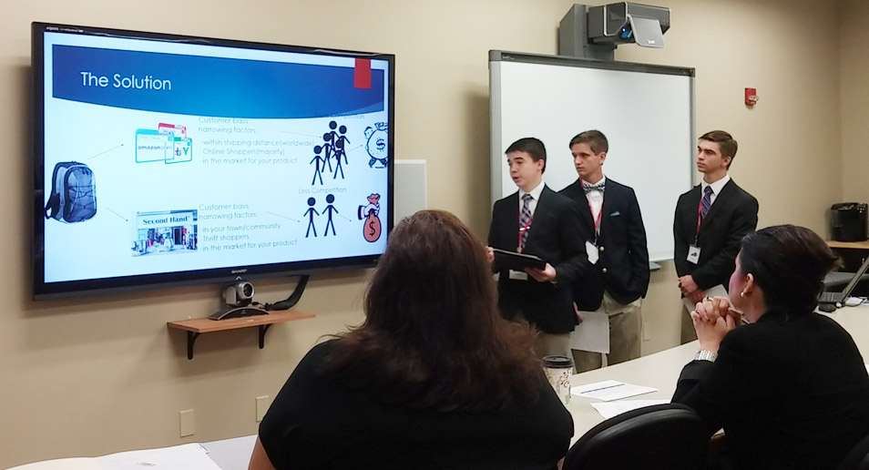 On Tuesday, April 11, from left, CHS freshman Cole Kidwell, sophomore Myles Murrell and junior Cass Kidwell won the Lt. Governor's Entrepreneurship Challenge and now advance to state competition.