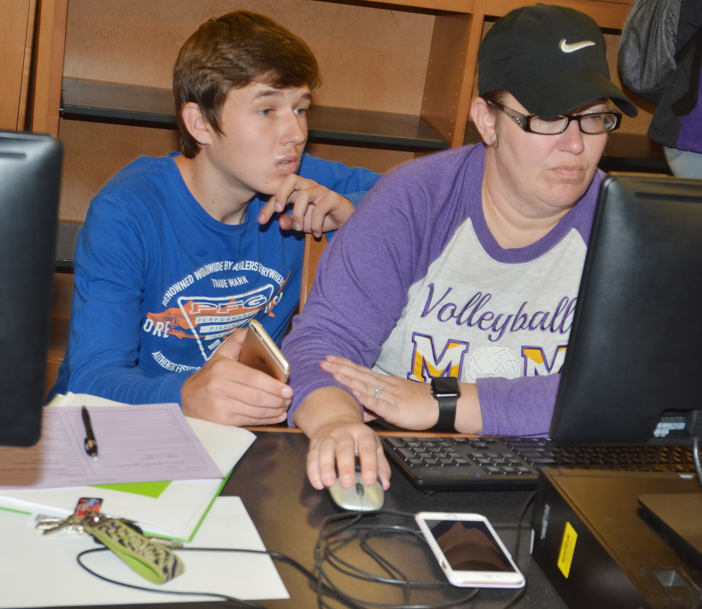 CHS senior Justin Humphress and his mother Deanna complete his FAFSA.