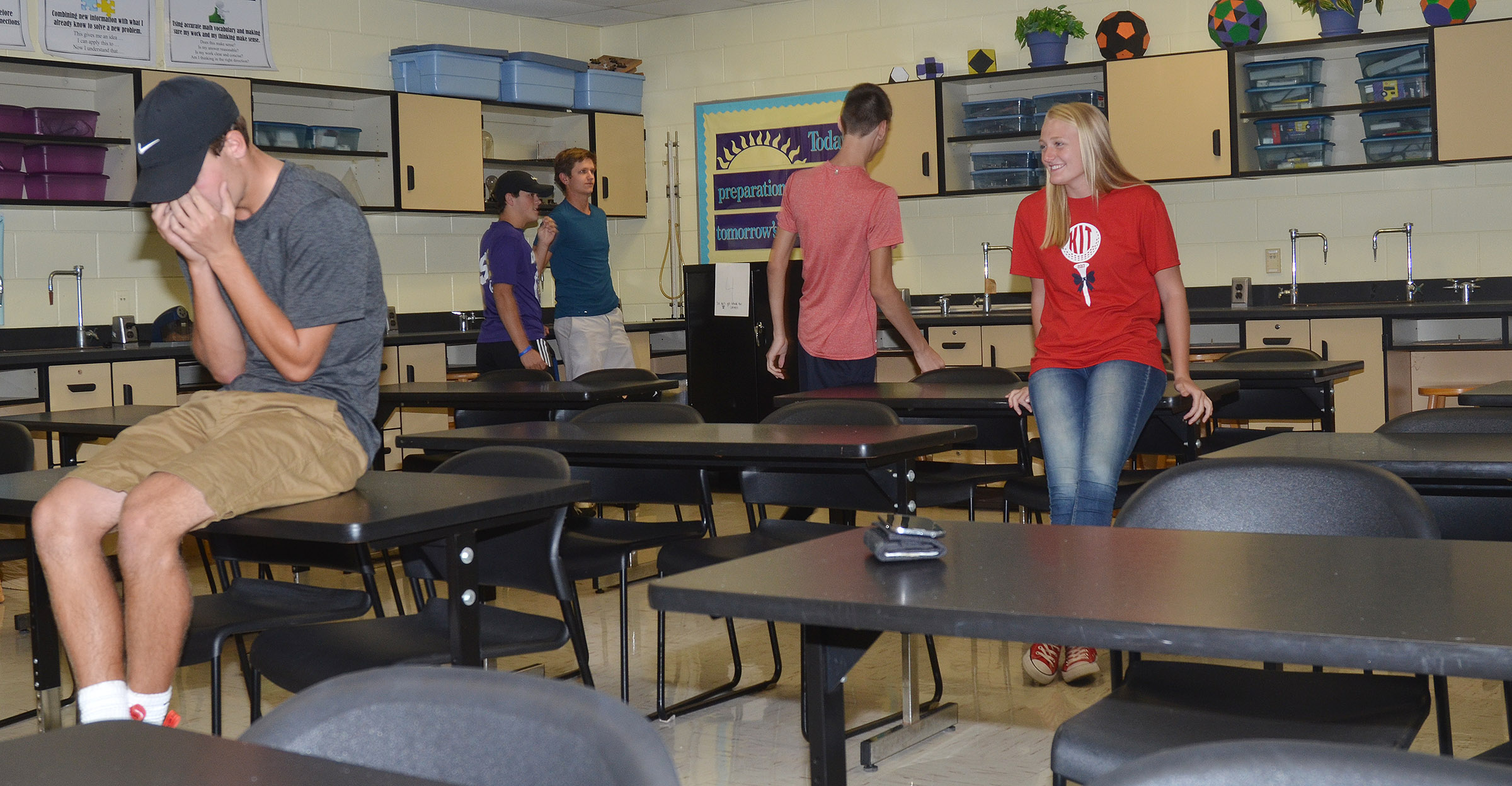 CHS junior Layton Hord plays four corners with his fellow FCA members.