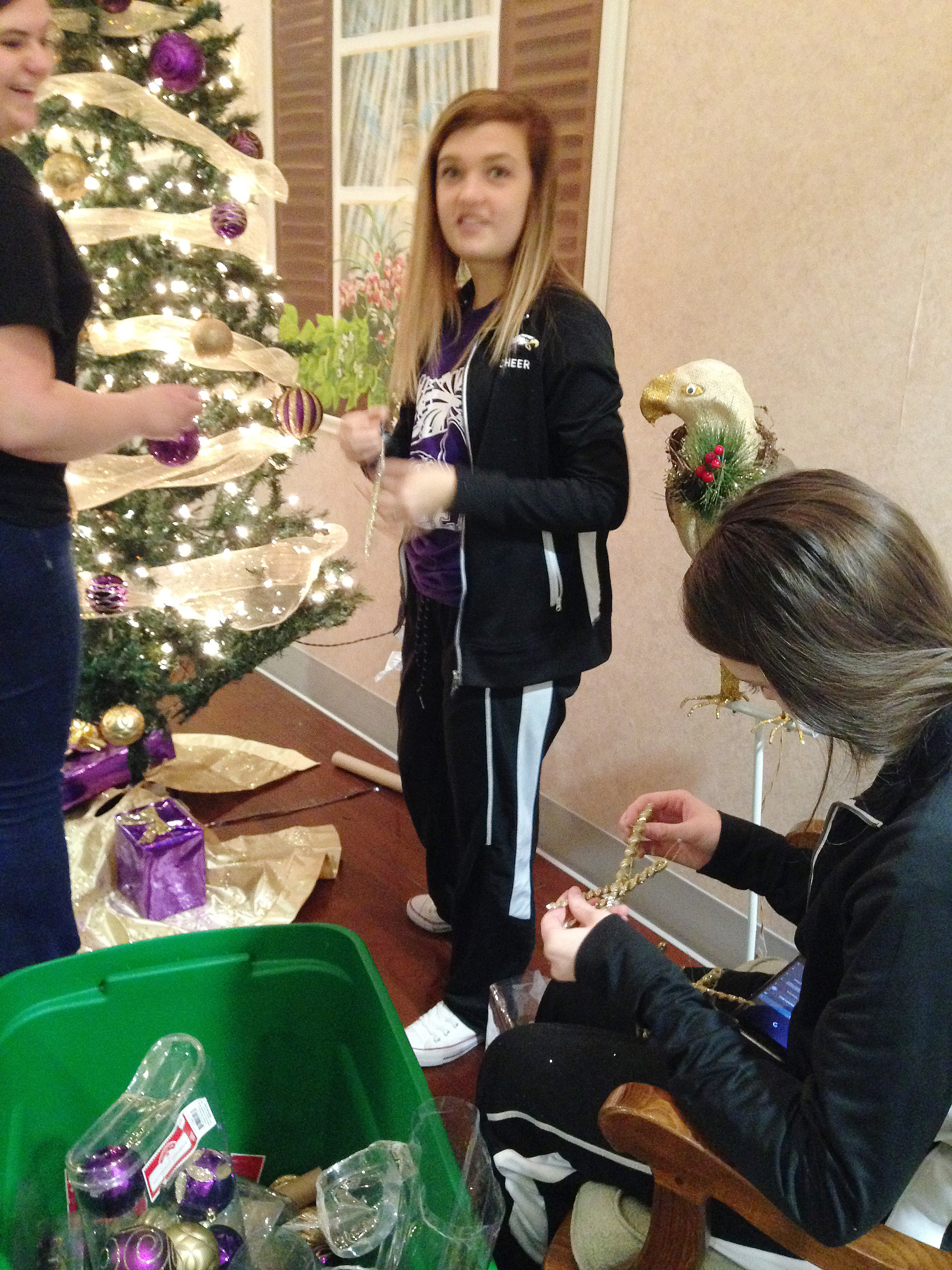 From left, CHS senior Vivian Brown, freshman Carly Adams and junior Caleigh Bright decorate the FCCLA club's Christmas tree, which is on display at the Grandview.