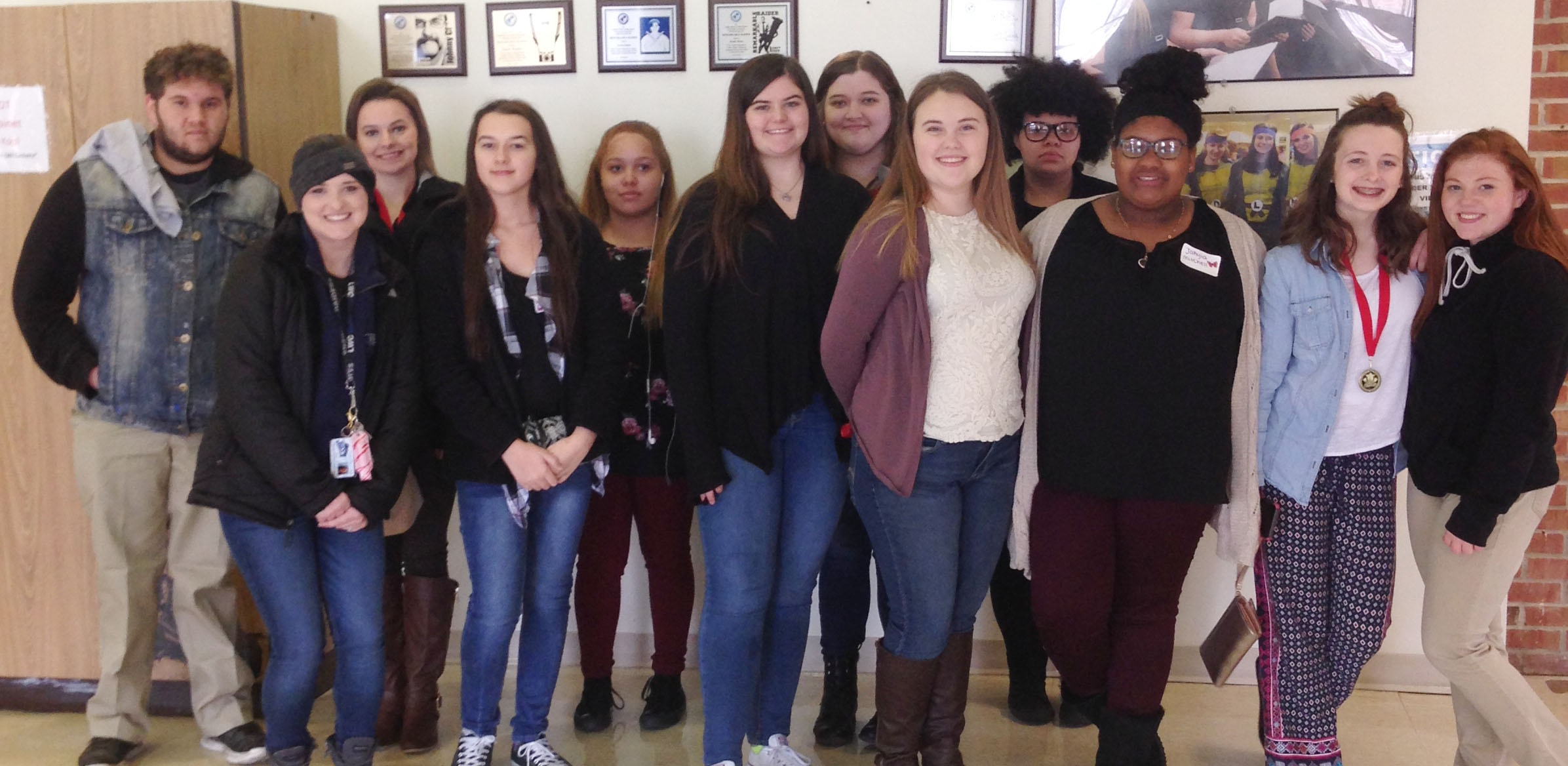 CHS FCCLA students attended the Region 14 meeting on Tuesday, March 14, at Lindsey Wilson College. Afterward, the students toured LWC. From left are CHS senior Dalton Ballentine, their LWC tour guide, senior Kyrsten Hill, juniors Makala Antle, Shailyn Fields, Vivian Brown, Lauren Riddle and Haley Fitch, sophomore Jay Tucker, freshman Jakyia Mitchell and sophomores Caleigh Bright and Bethany Harris.