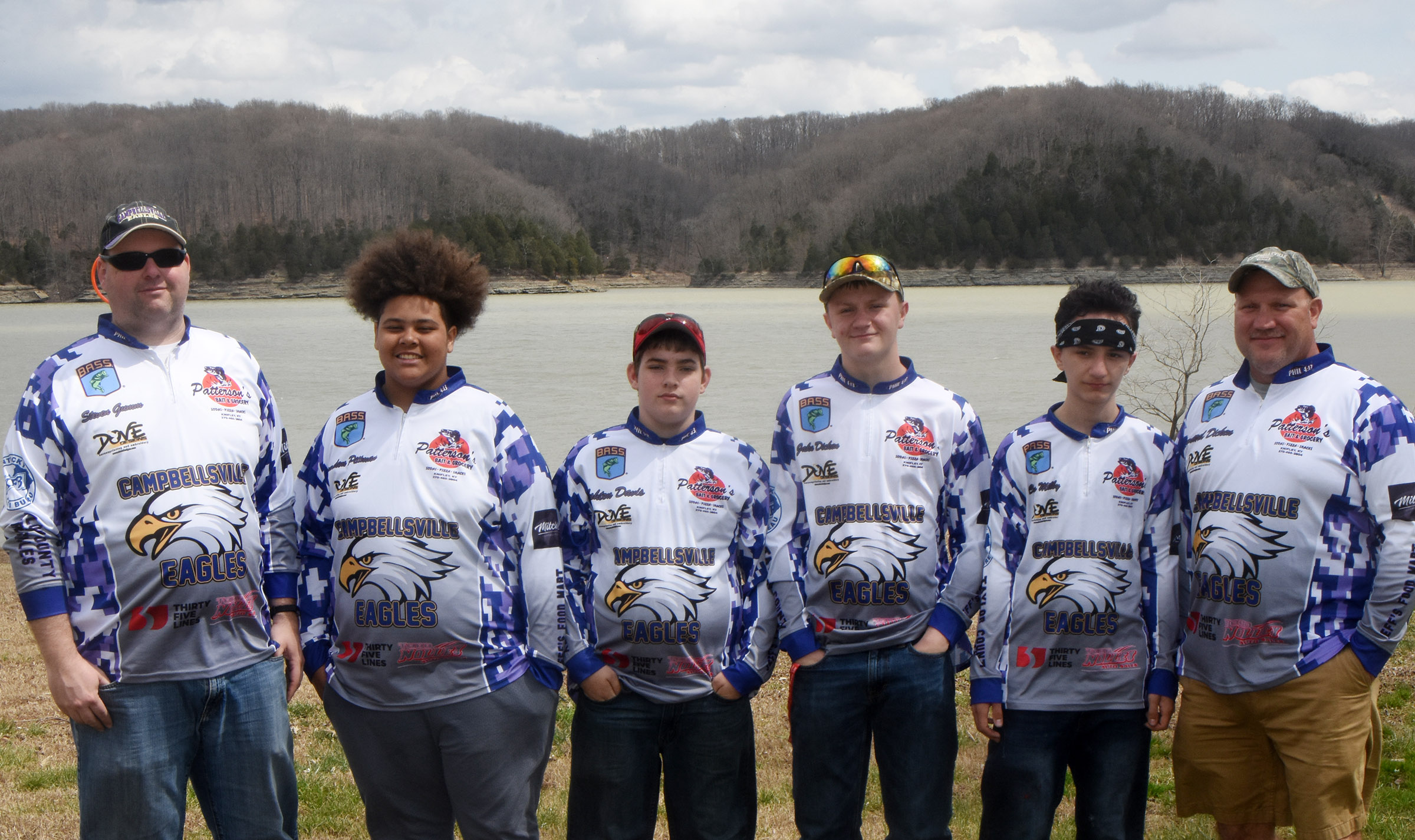 CHS fishing team members who recently competed at Green River Lake are, from left, boat captain and CMS teacher Steven Gumm, freshman Brandon Pittman, seventh-grader Ashton Davis, eighth-grader Levi Dicken, seventh-grader Chris Milby and boat captain and fishing coach Richard Dicken.