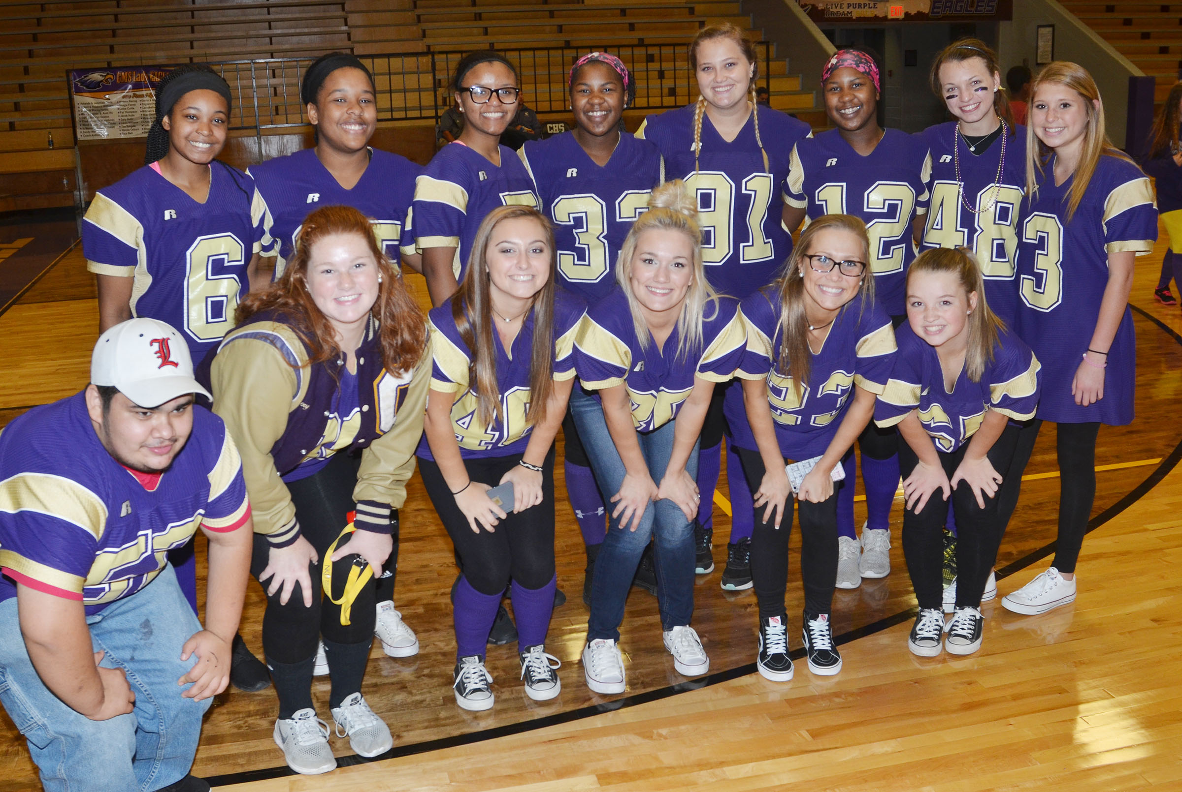 CHS students and faculty members dress for Purple and Gold Day.