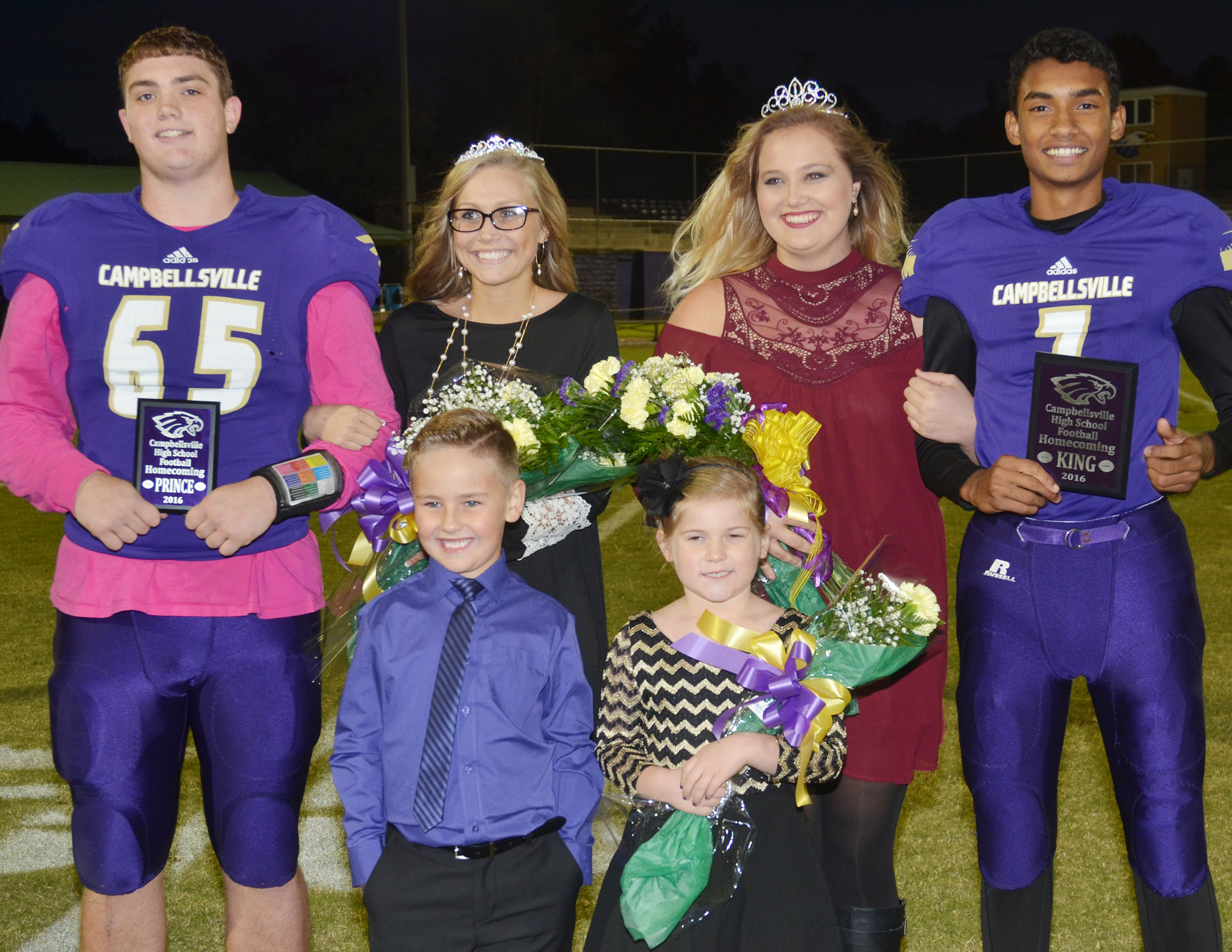 This year's CHS football homecoming court is, front, Campbellsville Elementary School kindergarteners Braxton Rhodes and Aubreigh Knifley, who served as crown bearers. Back, prince and princess Lane Bottoms and Tatem Wiseman, representing the sophomore class, at left, and king and queen Daniel Silva and Brenna Wethington from the senior class.
