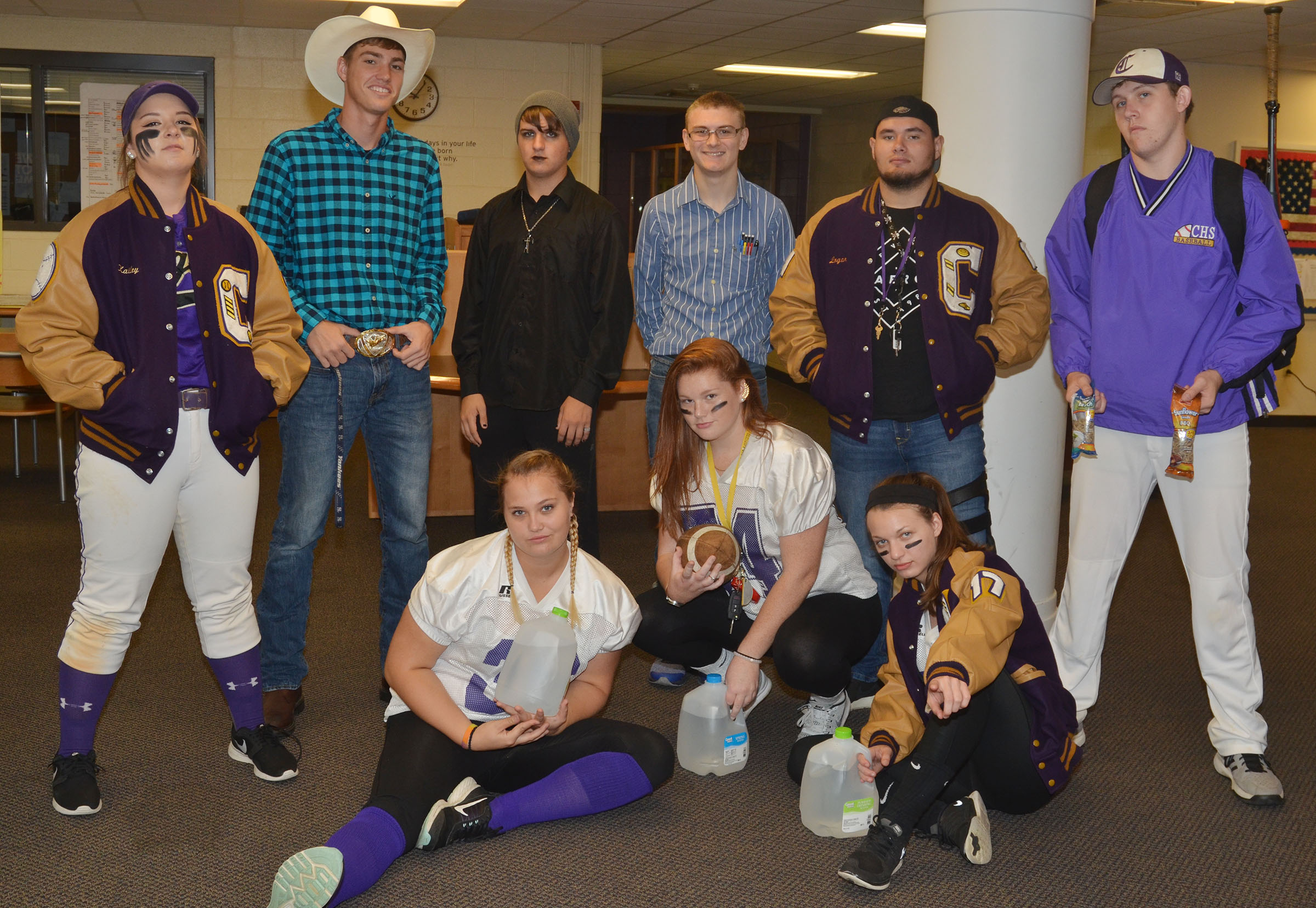 CHS seniors dress for High School Stereotype Day. From left, front, are Brenna Wethington, Mallory Haley and Caylie Blair. Back, Kailey Morris, Zack Bottoms, Austin Fitzgerald, Ben Rafferty, Logan Brown and Jared Brewster.