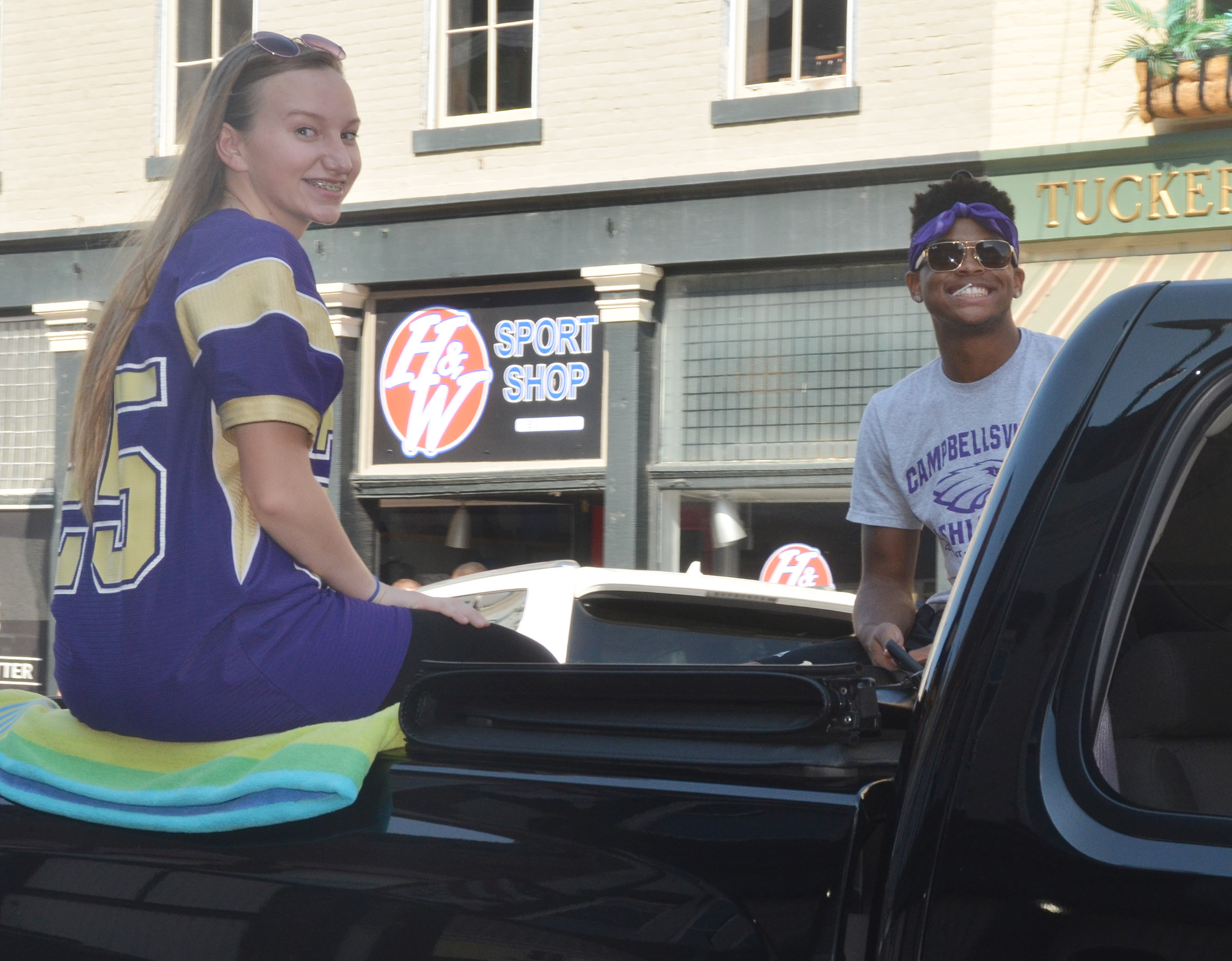 CHS senior homecoming candidates Madison Dial and Devonte Cubit ride in the parade.