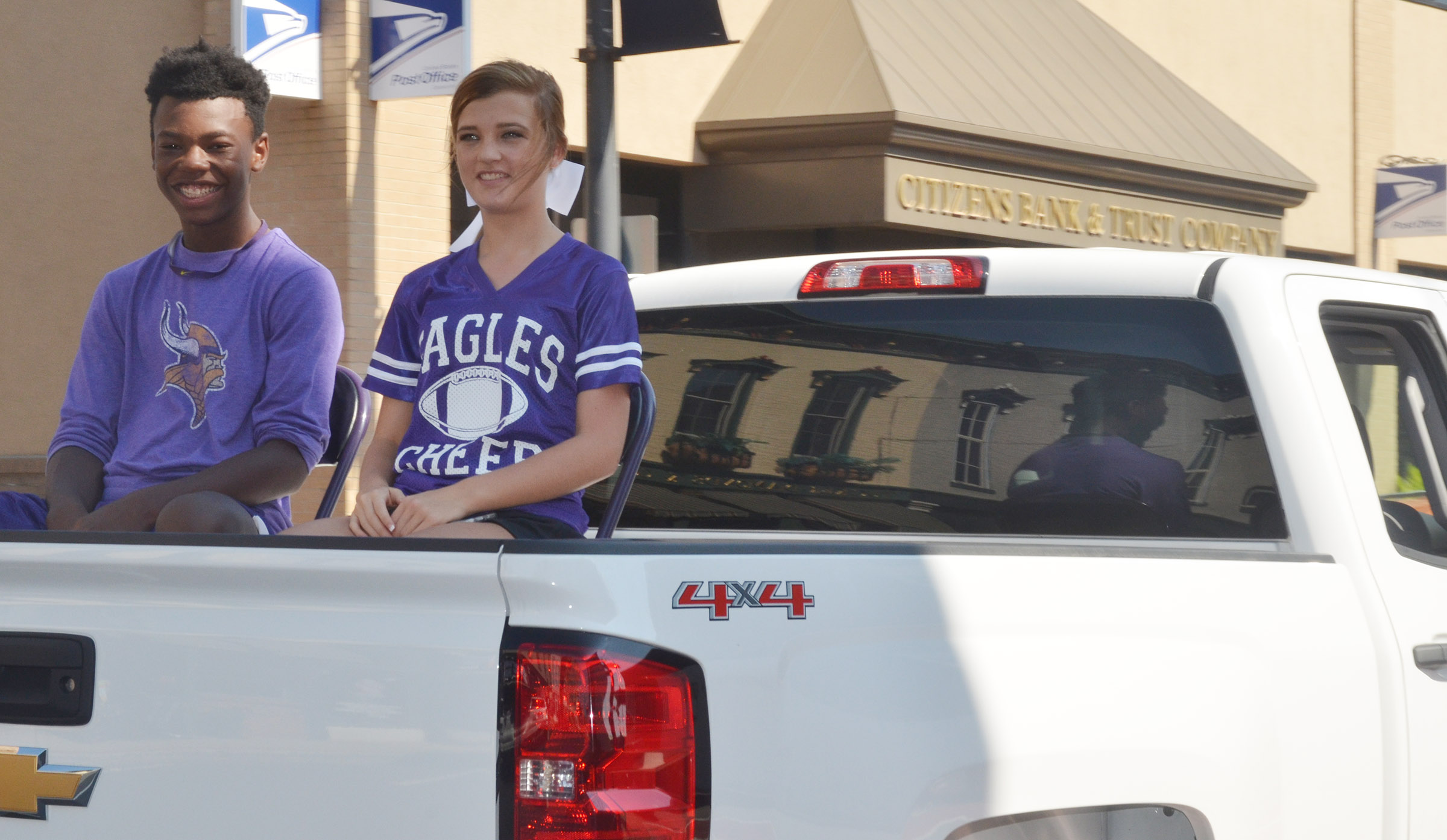 CHS freshman homecoming canddiates Saevon Buckner and Carly Adams ride in the parade.