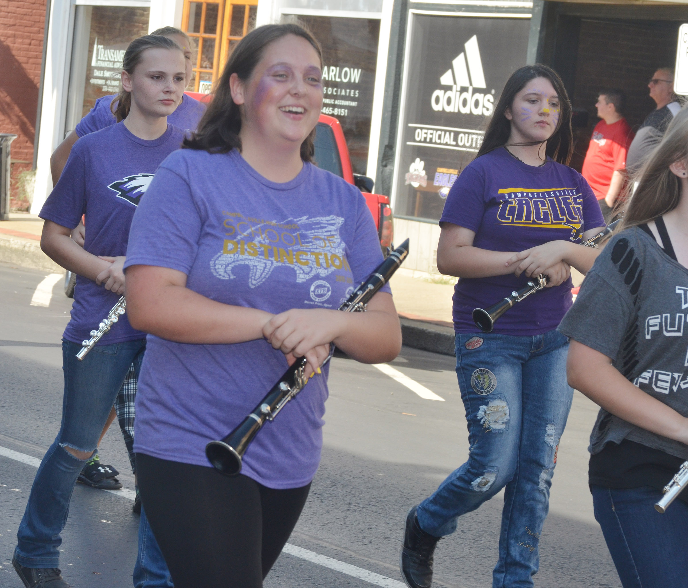 CHS junior Ruby Hatfield marches in the parade.