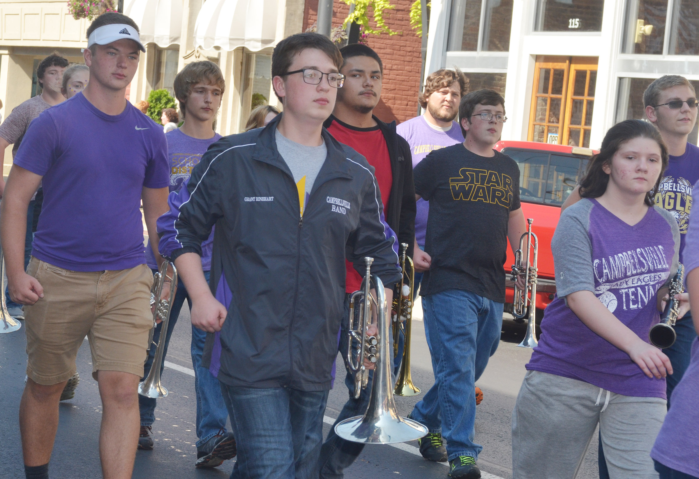 CHS sophomore Grant Rinehart marches in the parade.