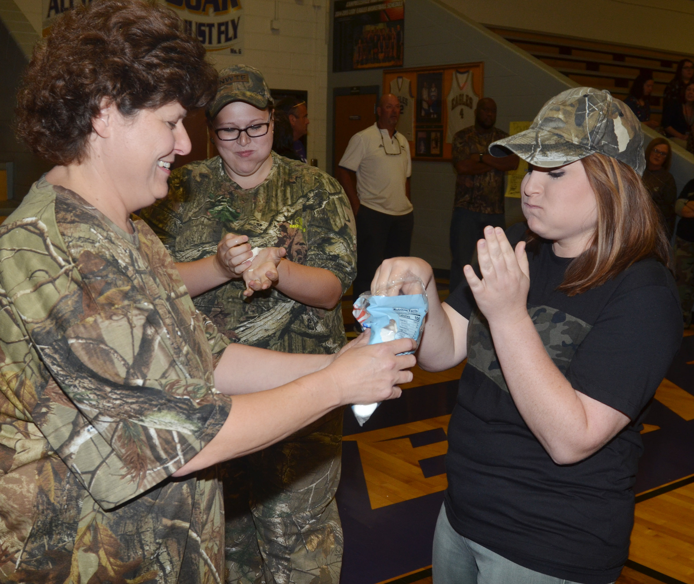 CHS students and teachers play the Puffy Pumpkin game.
