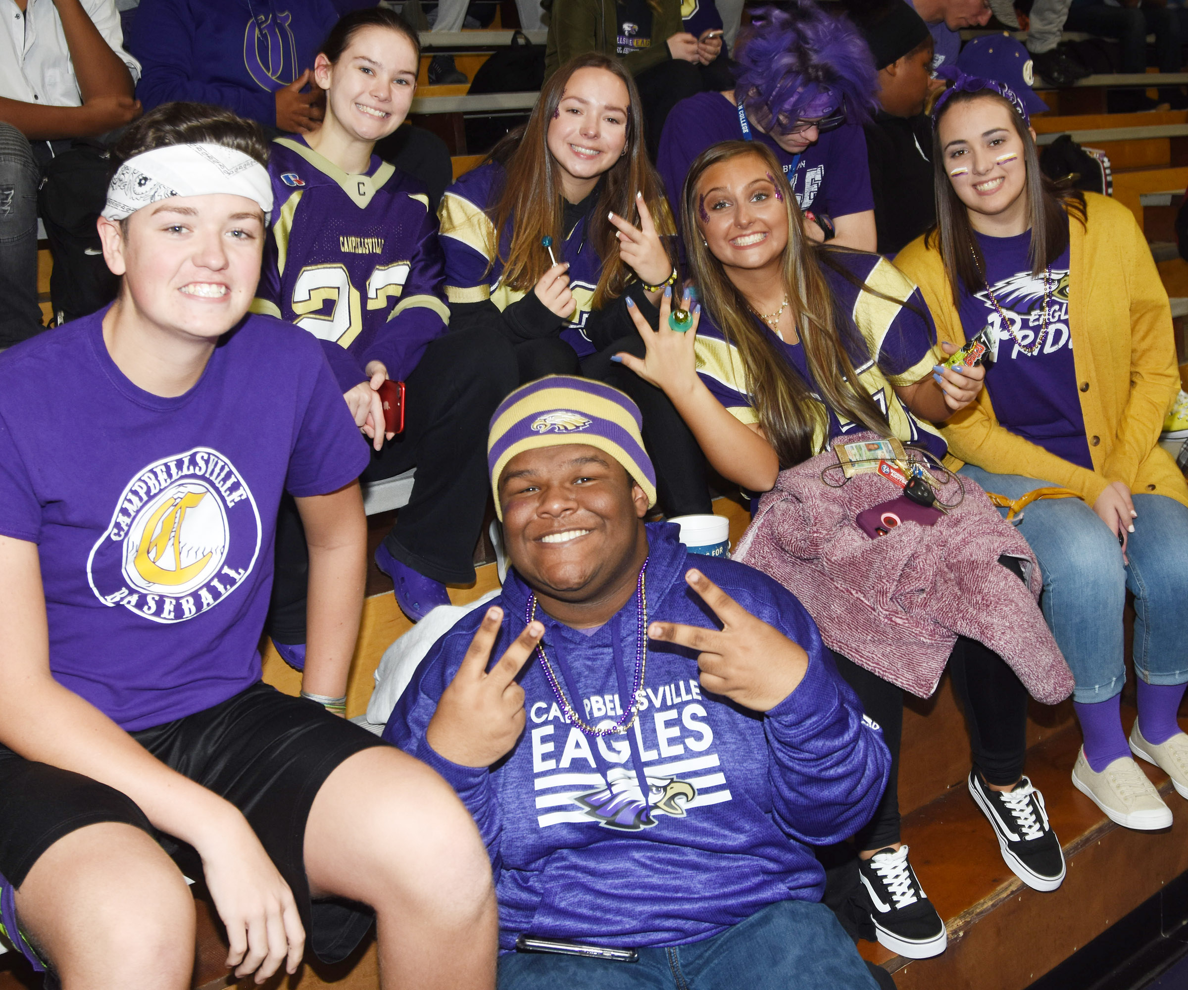 CHS students and staff members dress in purple and gold for The Eagle Way Day.