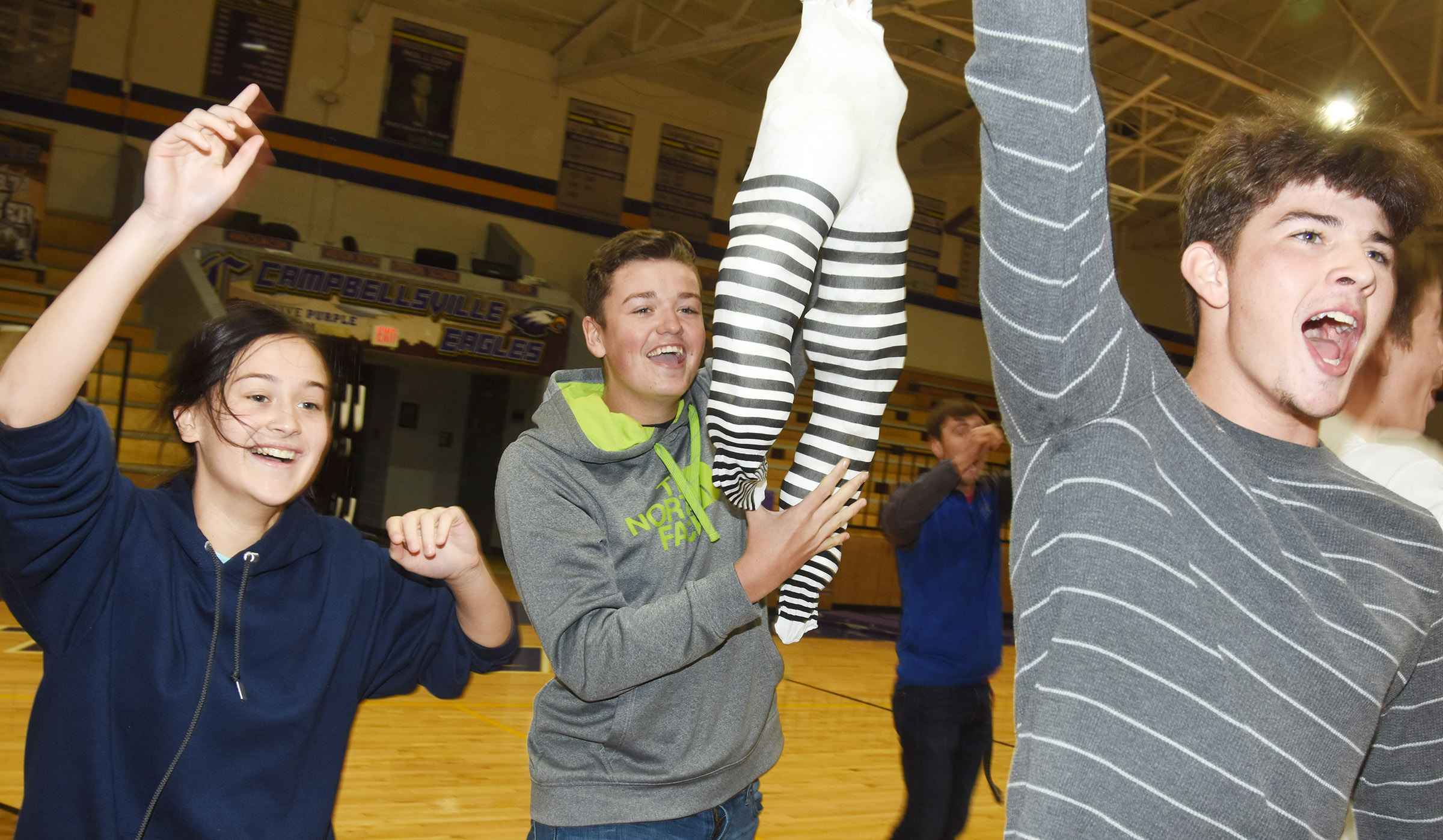 CHS students play the Tissue Game. The junior class won.