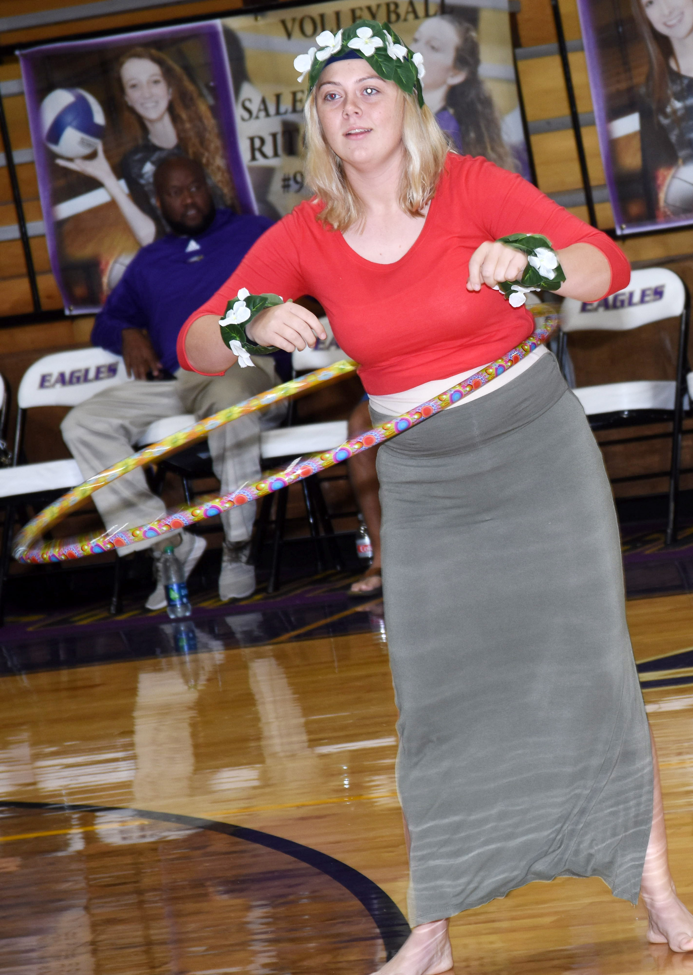 CHS students play the Hula Hoop game. The freshman class won.