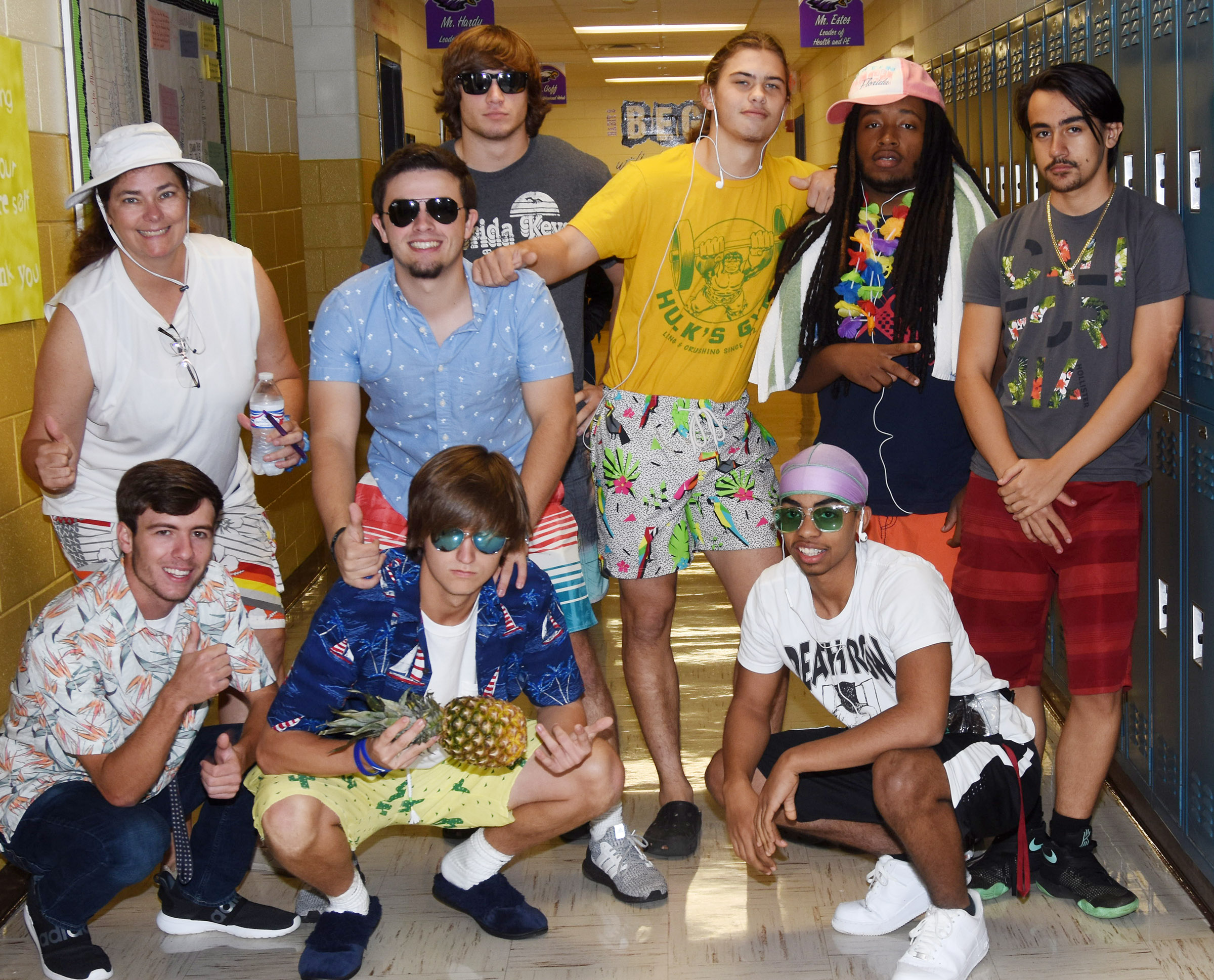 CHS students and staff members dress for Tidal Wave Tuesday.