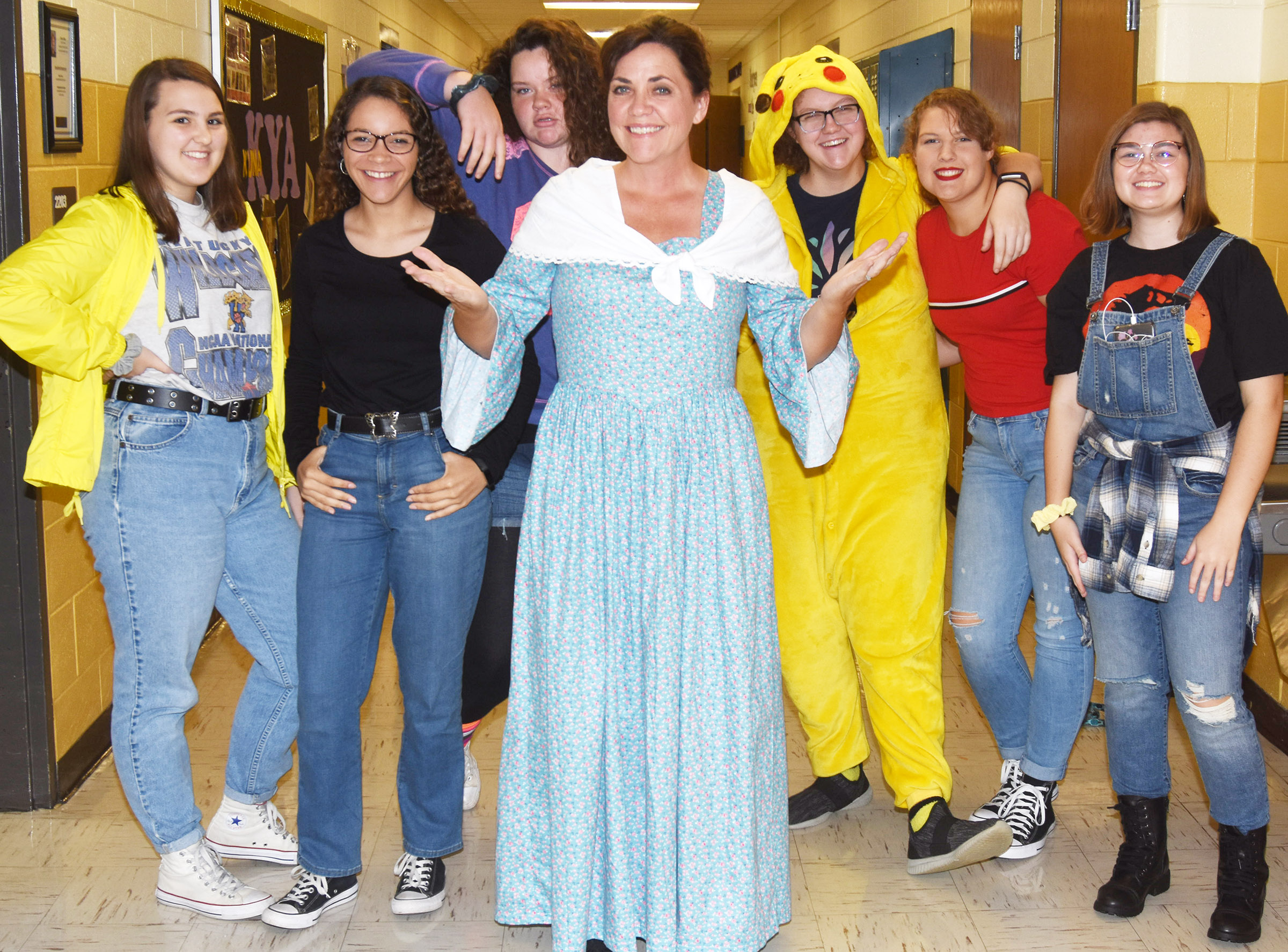 CHS students and staff members dress for Wayback Wednesday.