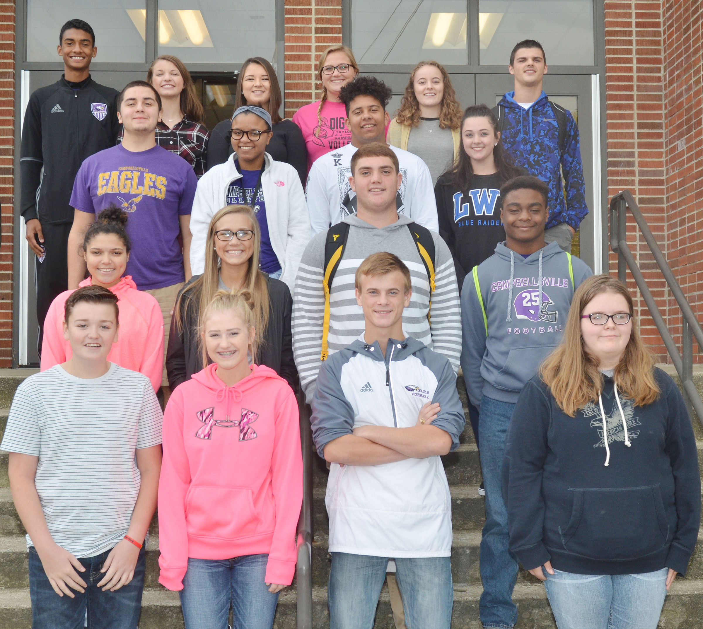 This year's CHS football homecoming candidates are, from left, front, freshmen Gavin Johnson, Isabella Osborne, Matthew Oliver and Taylor Brewer. Second row, sophomores Mariah Lowery, Tatem Wiseman, Lane Bottoms and Charlie Pettigrew. Third row, juniors Josh Tamez, Etiyah Thompson, Adrian Richardson and Missy Vanorder. Back, seniors Daniel Silva, Caylie Blair, Kailey Morris, Brenna Wethington, Caroline McMahan and Stone Williams. Absent from the photo are seniors Logan Brown and Murphy Lamb.