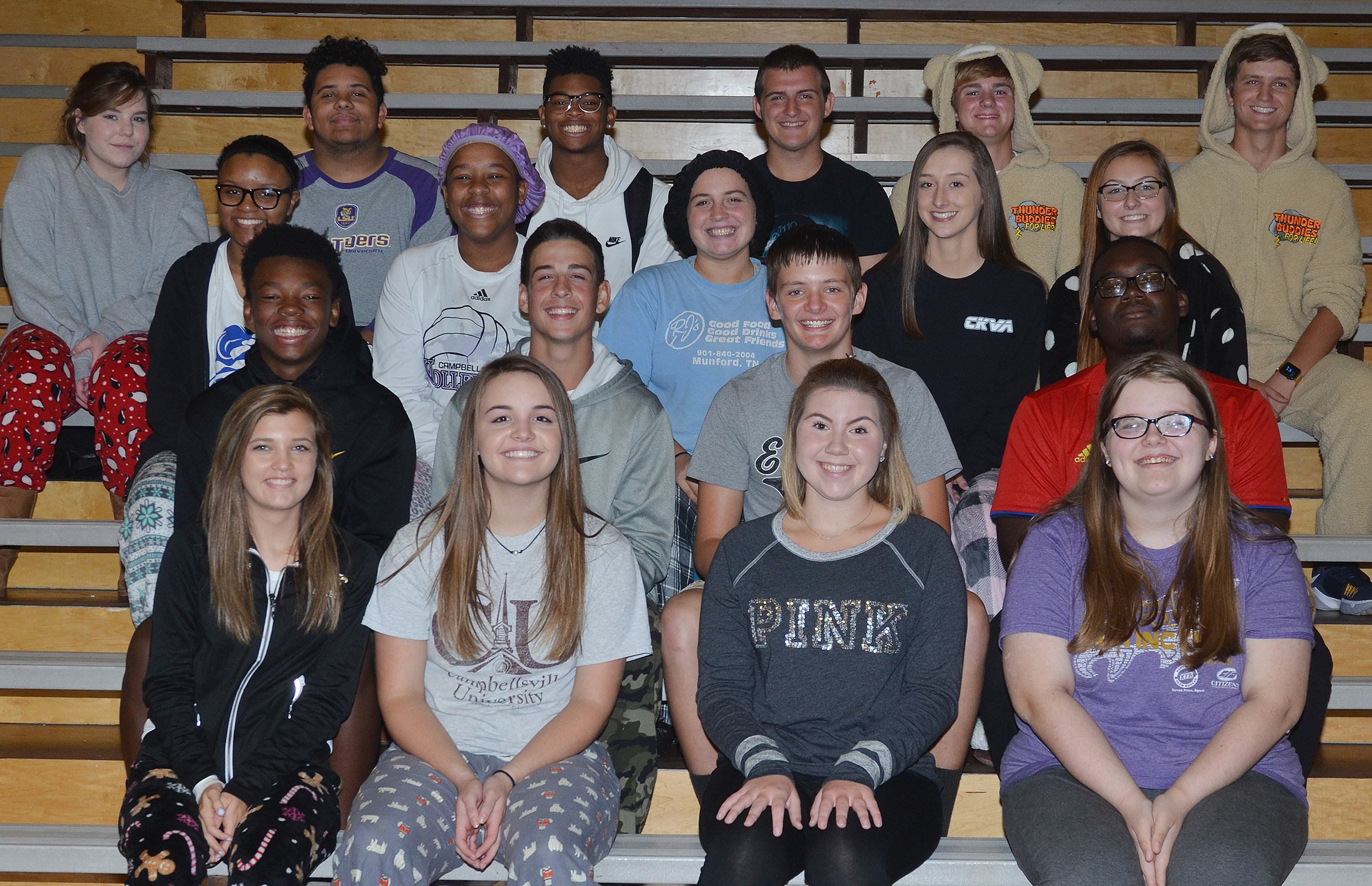 CHS football homecoming king and queen candidates are, from left, front, freshmen Carly Adams and Kenzi Forbis and sophomores Lauryn Agathen and Taylor Brewer. Second row, freshmen Saevon Buckner and John Orberson and sophomores Blake Allen and Taekwon McCoy. Third row, seniors Etiyah Thompson, Kayla Young and Caitlin Bright and juniors Samantha Mason and Reagan Knight. Back, seniors Sara Farmer, Adrian Cravens, Devonte Cubit, Austin Fitzgerald and Alex Doss and junior Myles Murrell. Absent from the photo is junior Charlie Pettigrew.