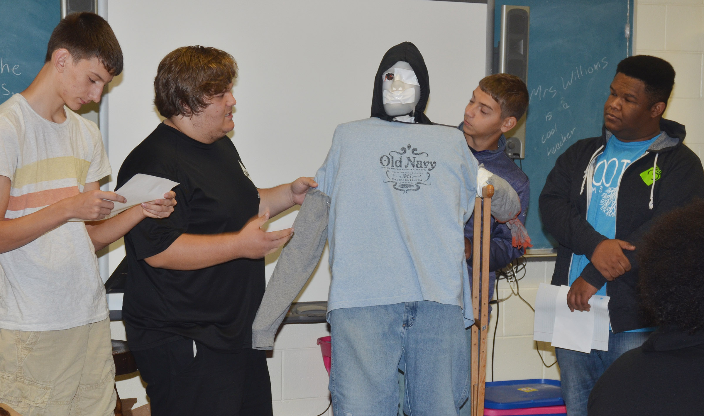 From left, CHS juniors Evan McAninch, Randy Harris, Casey Hardin and Jeremiah Jackson talk about their monster.