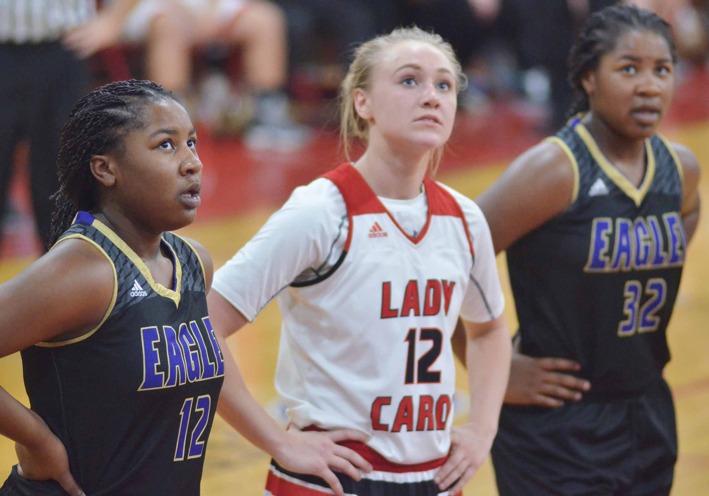 CHS junior Kiyah Barnett, at left, watches a foul shot.