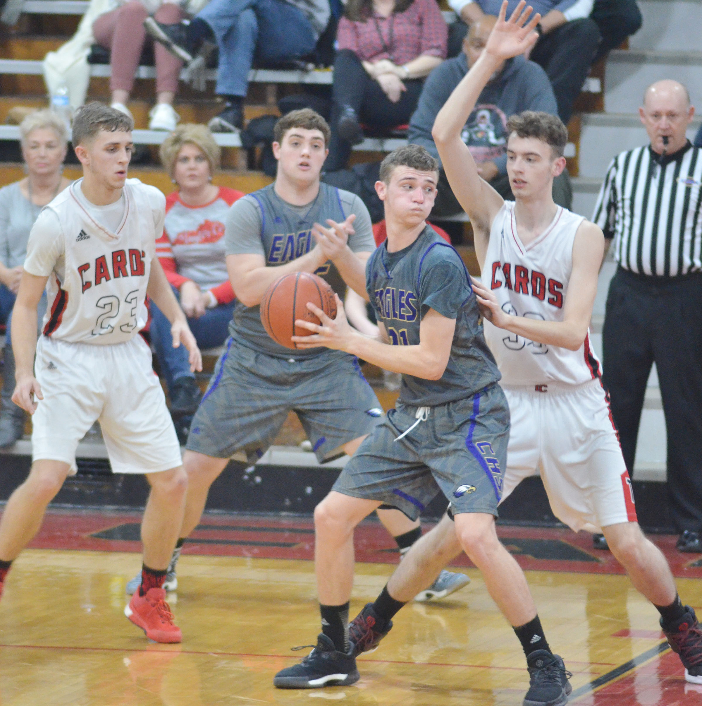 CHS junior Connor Wilson protects the ball.