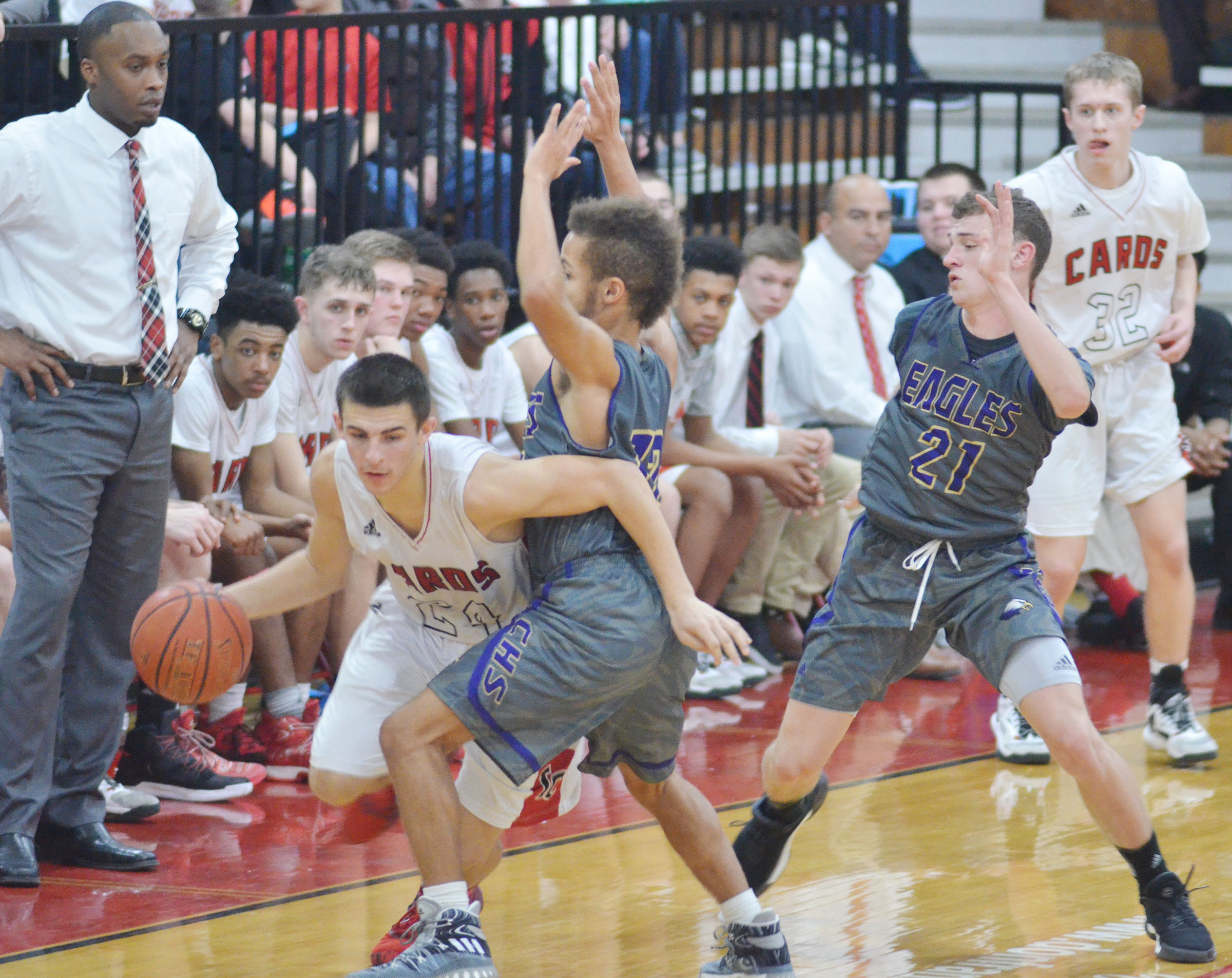 CHS juniors Ethan Lay, at left, and Connor Wilson play defense.