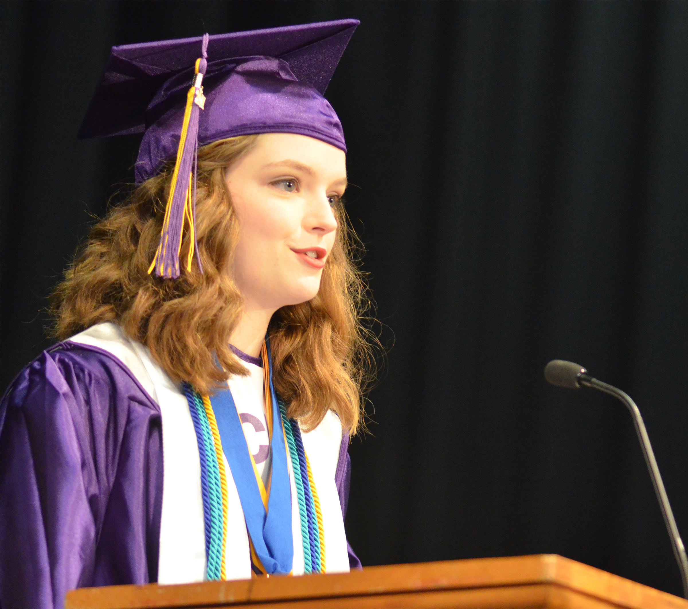 CHS senior Blair Lamb delivers her valedictory address.