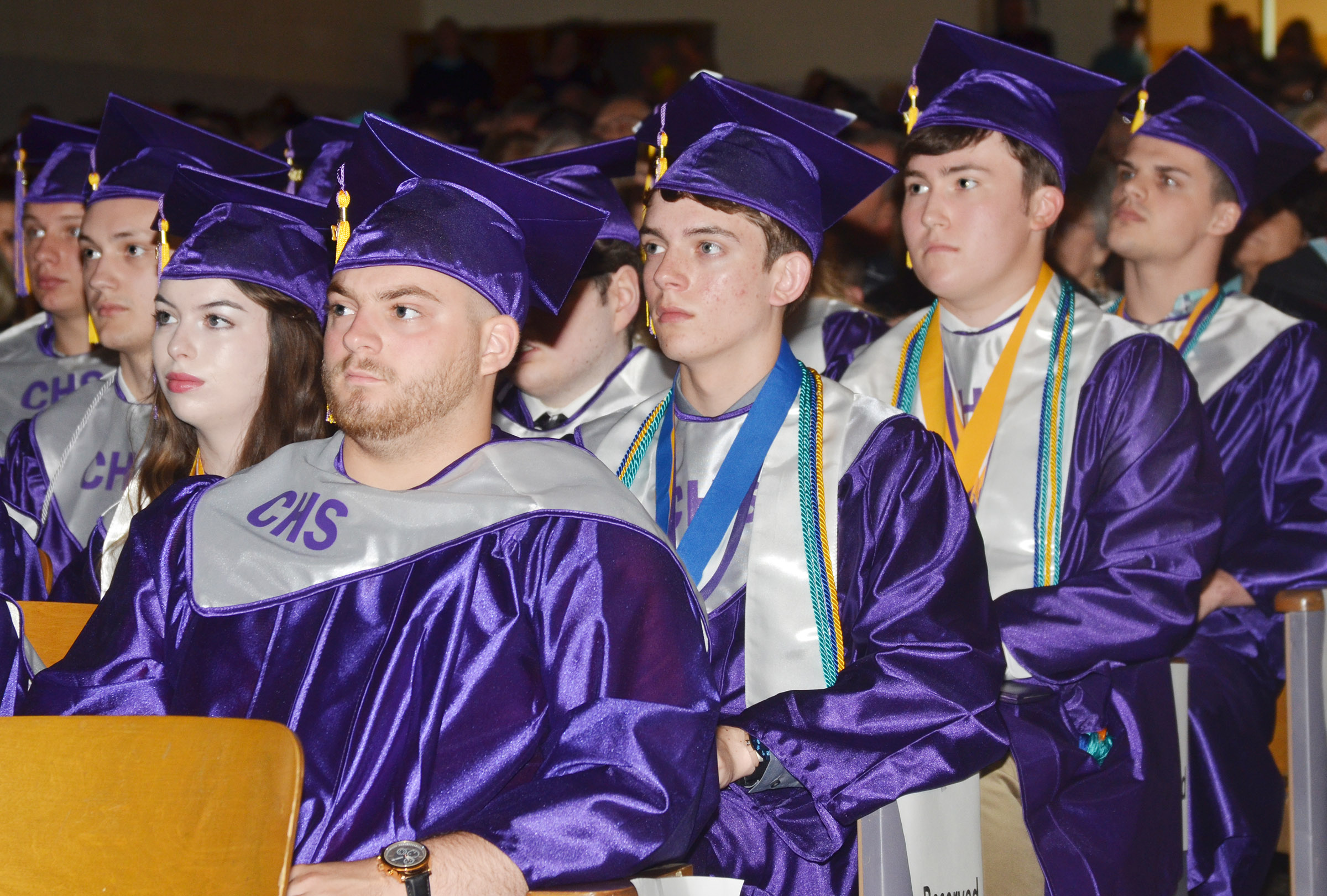 CHS seniors listen as Campbellsville Independent Schools Superintendent Mike Deaton addresses them.