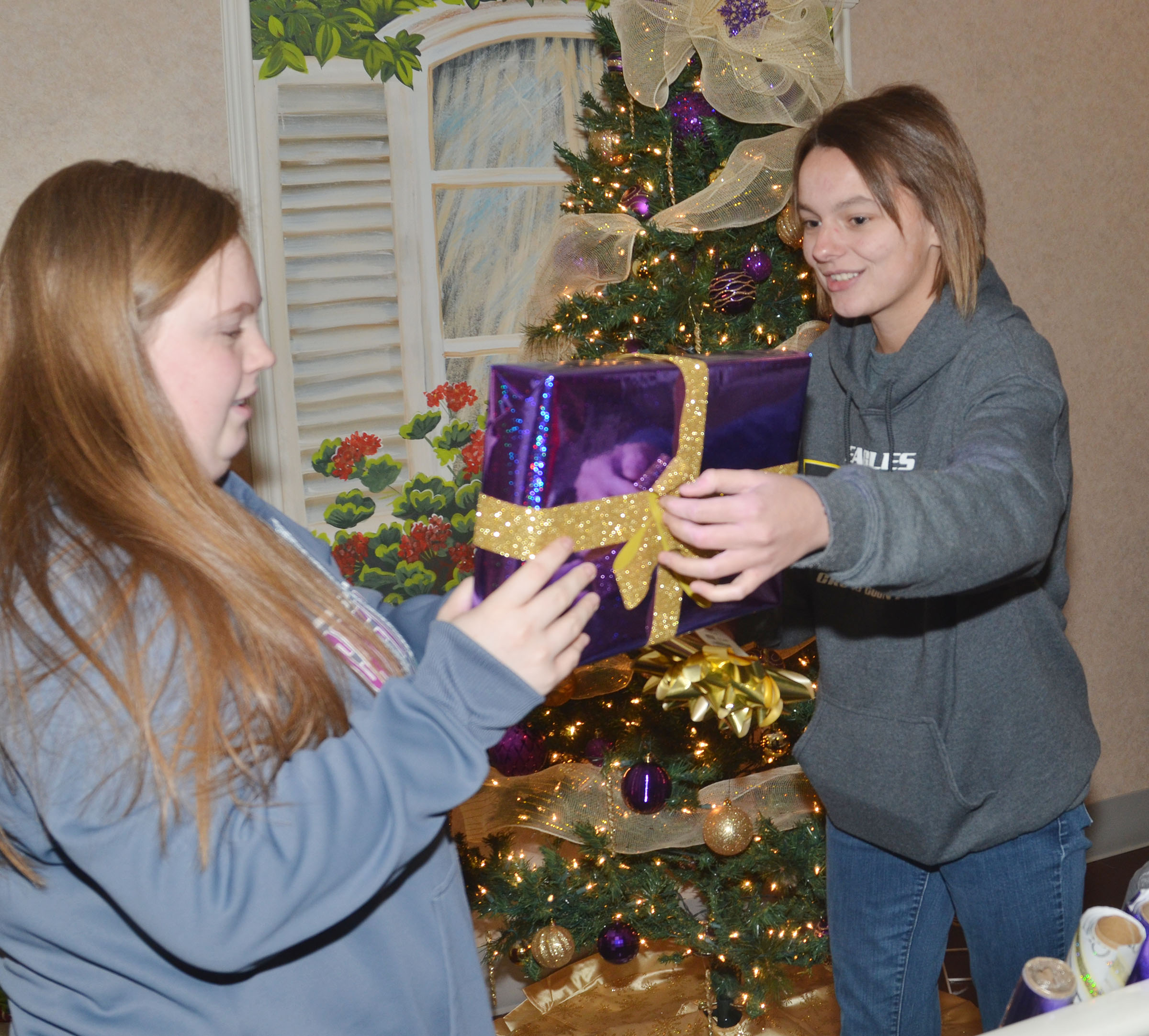 CHS seniors Madison Lewis, at left, and Kyrsten Hill decorate the FCCLA club's Christmas tree, which is on display at the Grandview.