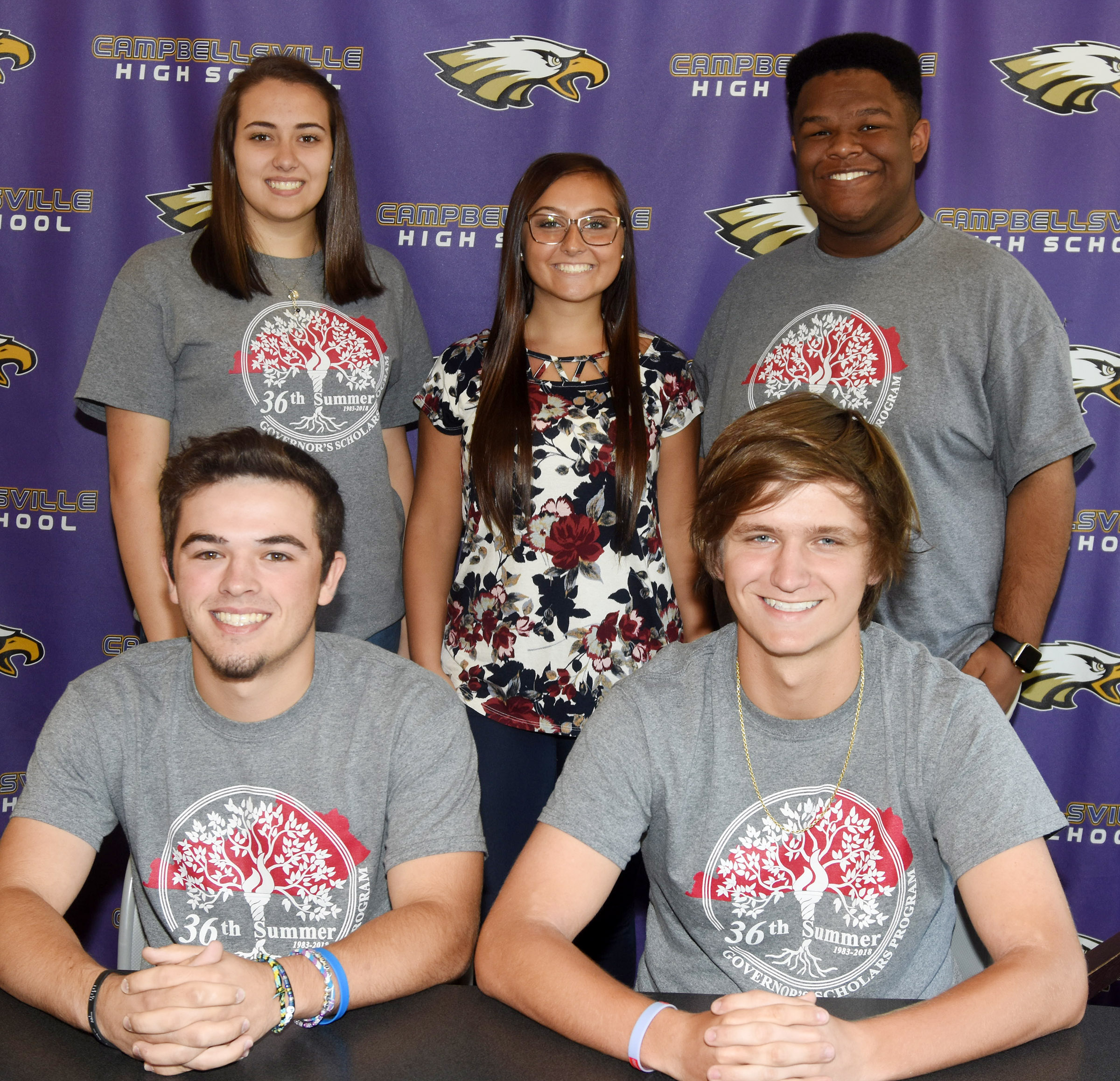 Campbellsville High School seniors, from left, front, Ryan Kearney and Myles Murrell, and, back, Elizabeth Sullivan, Reagan Knight and Jeremiah Jackson, attended the Governor's Scholars Program this summer. They say they learned a lot through the experience, and made lasting friendships and memories.