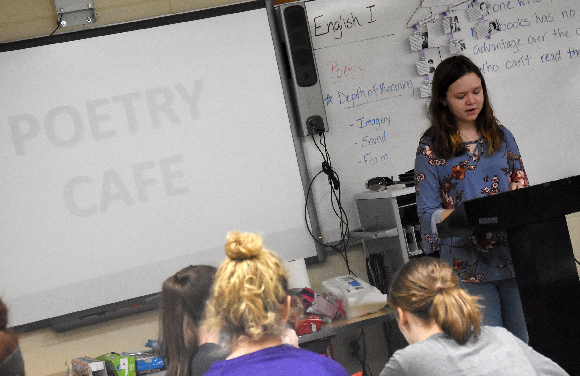 Campbellsville Middle School seventh-grader MaCayla Falls reads her poetry.