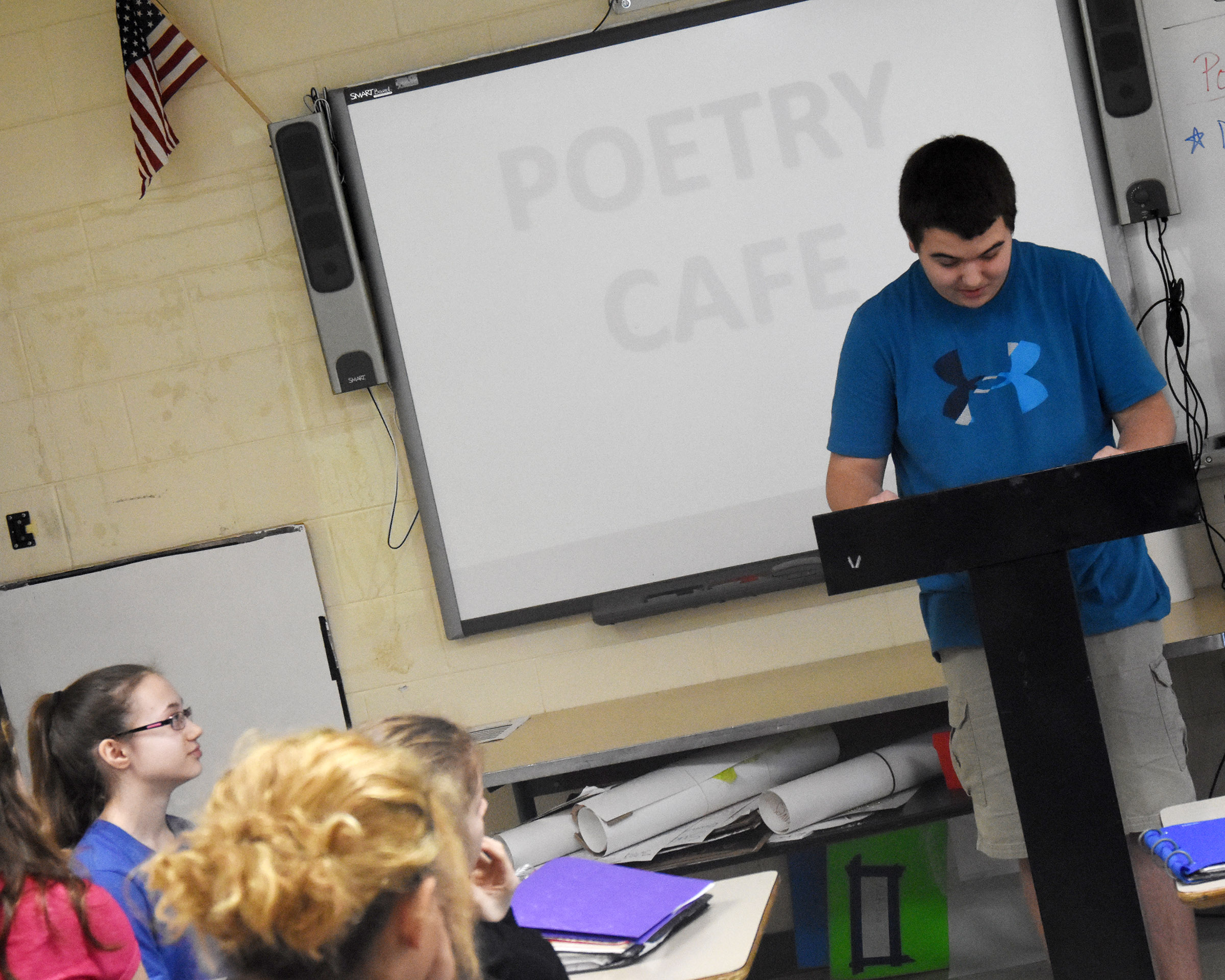Campbellsville Middle School eighth-grader Jack Sabo reads his poetry.