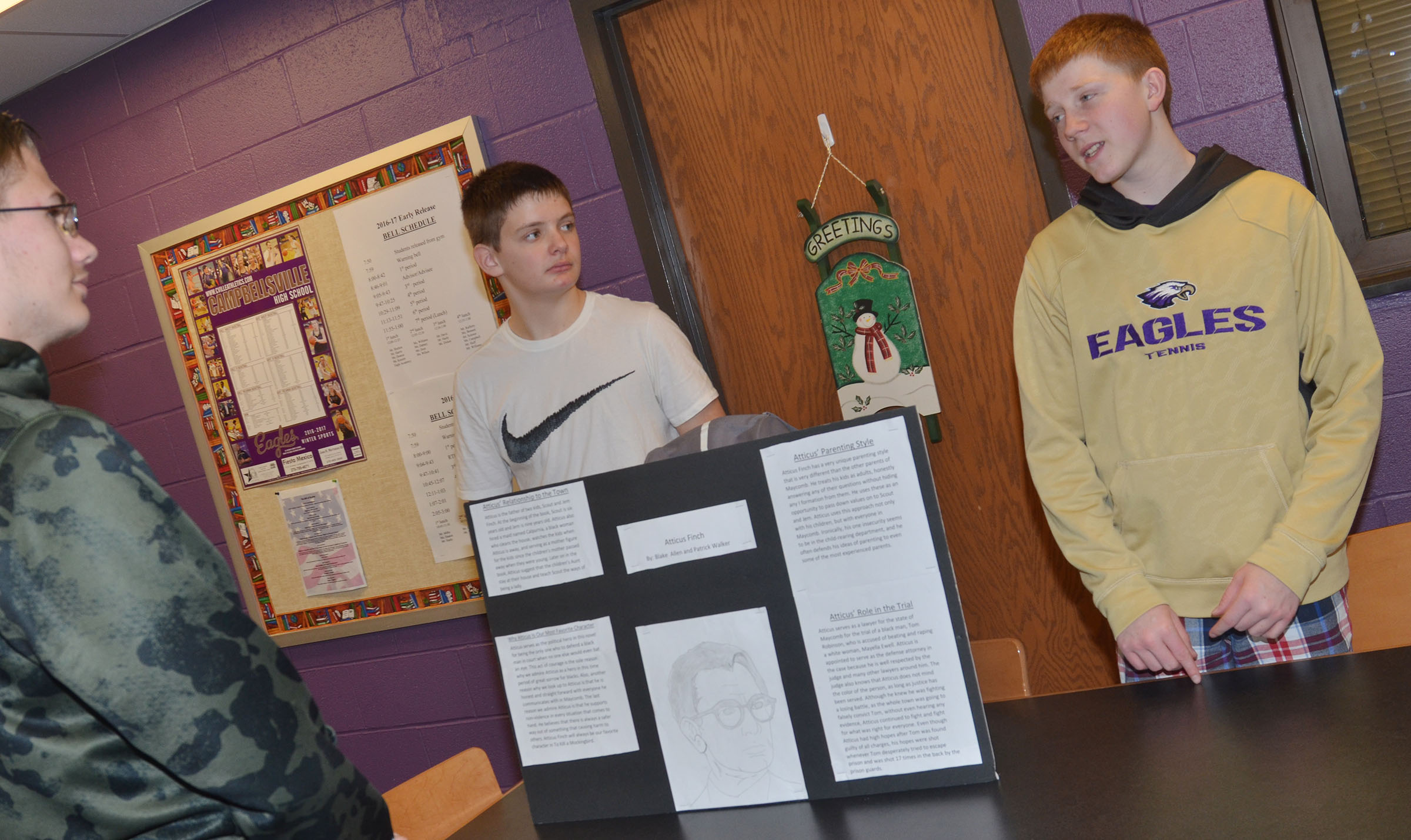 "CHS freshmen Blake Allen, at left, and Patrick Walker present their character sketch inspired by ""To Kill a Mockingbird."""