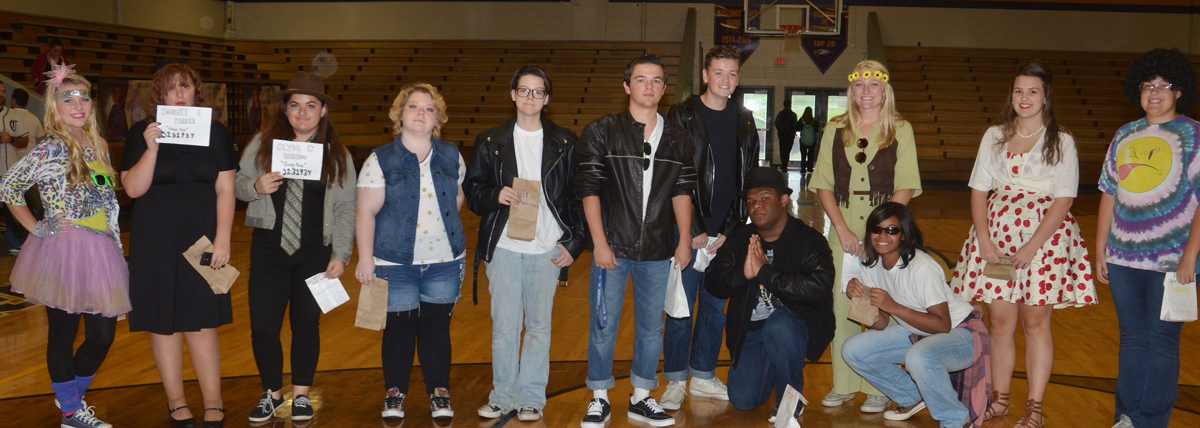 CHS students pictured are spirit bag winners for Blast Through the Past Day.