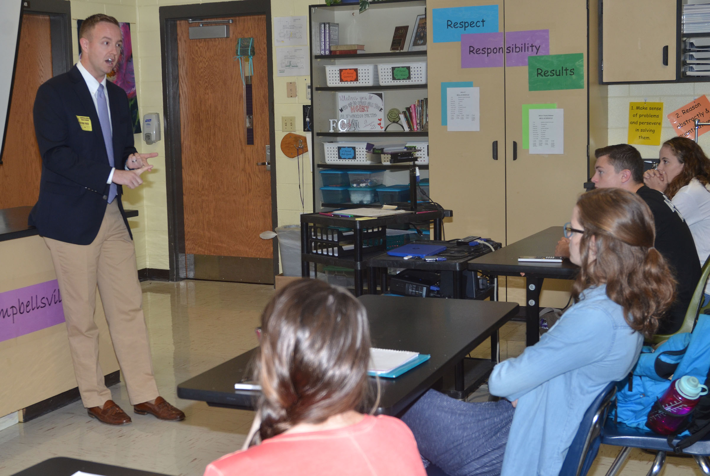 John Jessie, who graduated from Campbellsville High School in 2004, recently spoke to CHS seniors about making the most out of their college experience.
