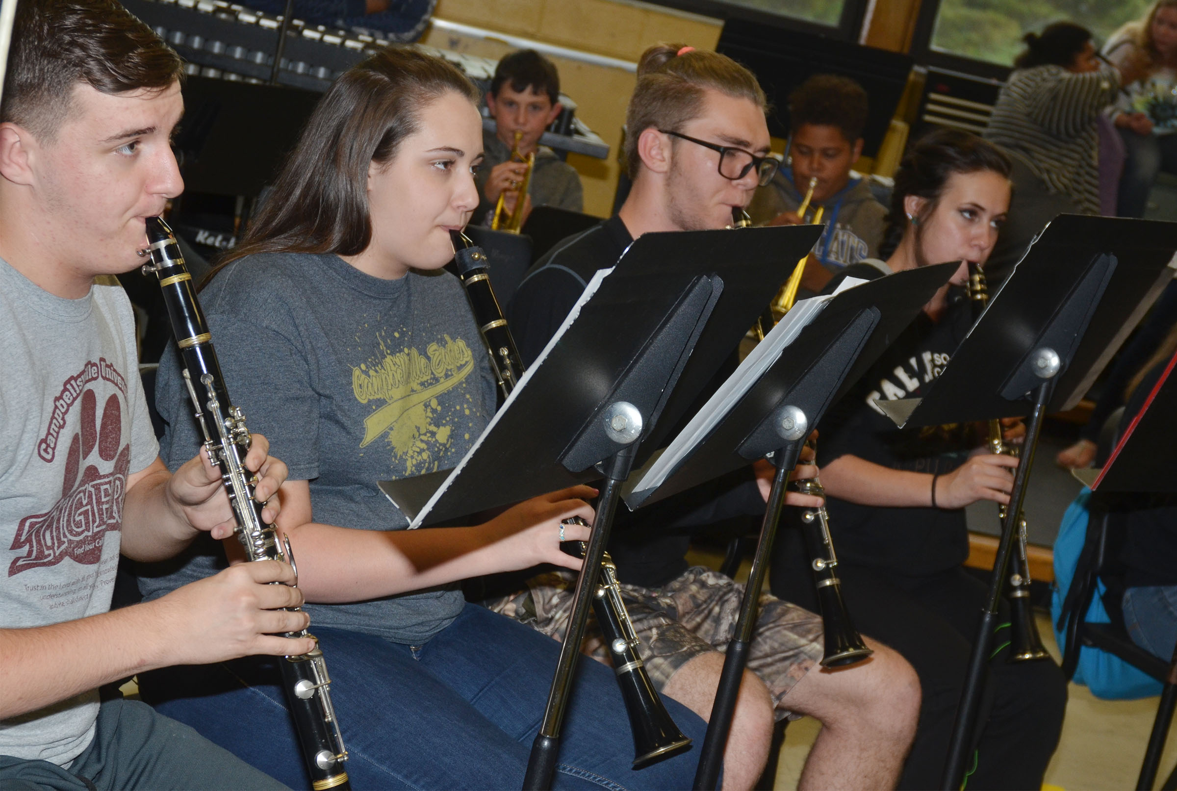 From left, CHS junior Austin Fitzgerald, sophomore Elizabeth Sullivan, junior Christian Berry and sophomore Makayla Miller play clarinet.