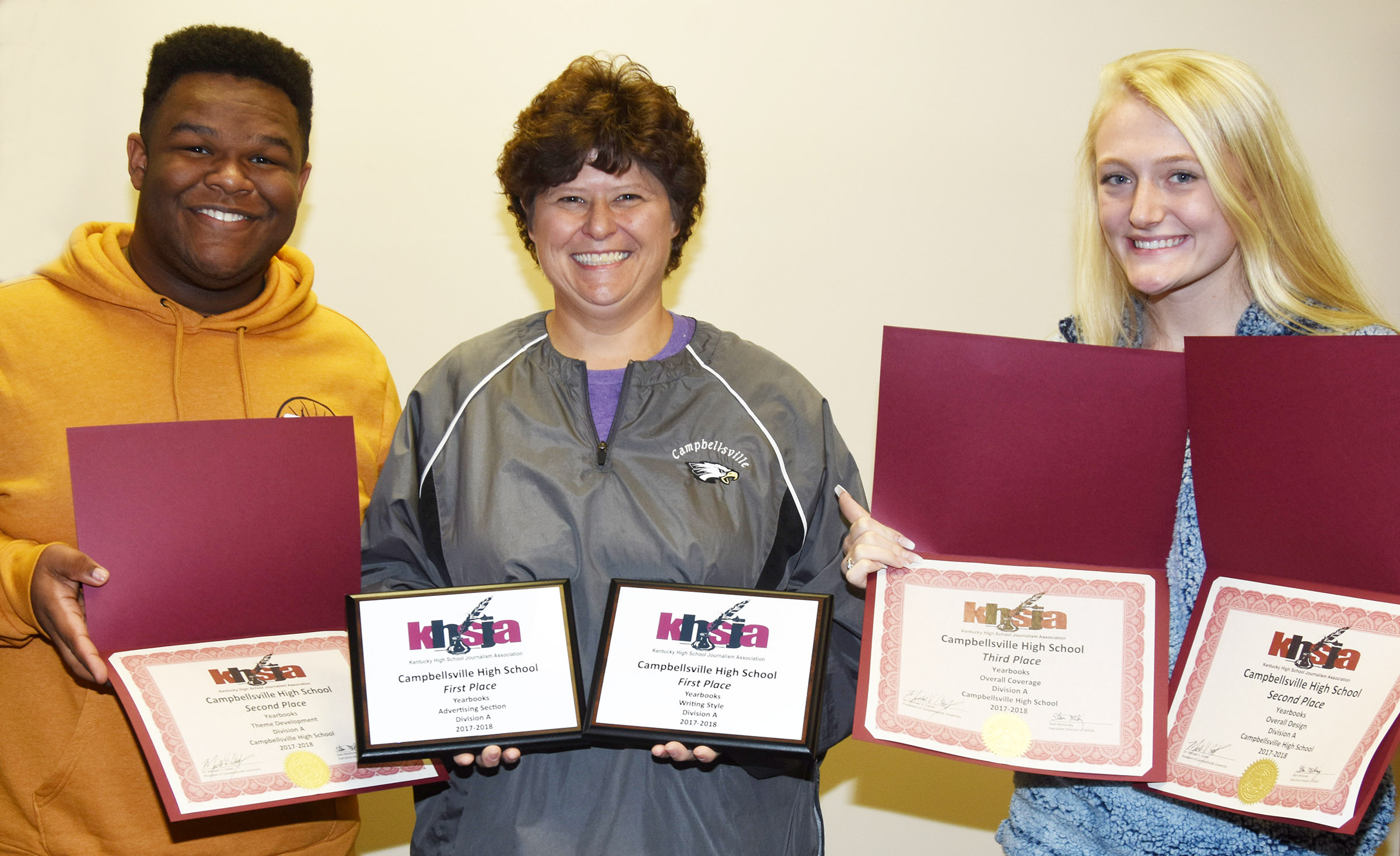 Campbellsville High School journalism students attended the Kentucky High School Journalism Association Workshop on Thursday, Oct. 11, and brought home five awards. With CHS media specialist and yearbook advisor Valerie Davis are senior yearbook staff members Jeremiah Jackson and Abbie Dicken.