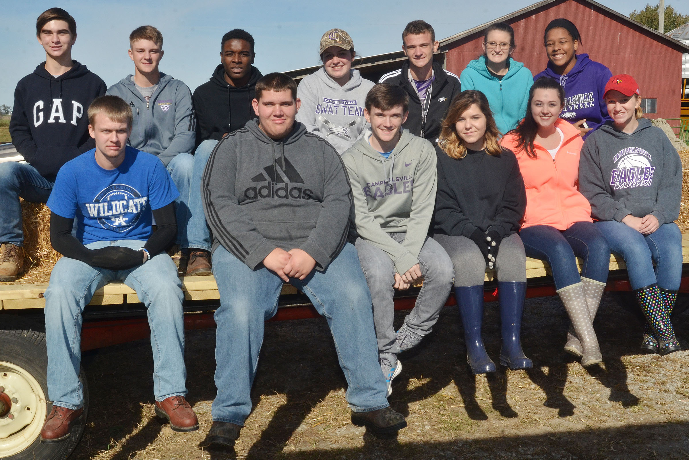 CHS juniors attending Agriculture Day are, from left, front, Wyatt Houk, Ryan Wiedewitsch, Jackson Hunt, Sara Farmer, Missy Vanorder and Madison Dial. Back, Cass Kidwell, Alex Doss, Chanson Atkinson, Caitlin Bright, Connor Wilson, Kim Harden and Kayla Young.