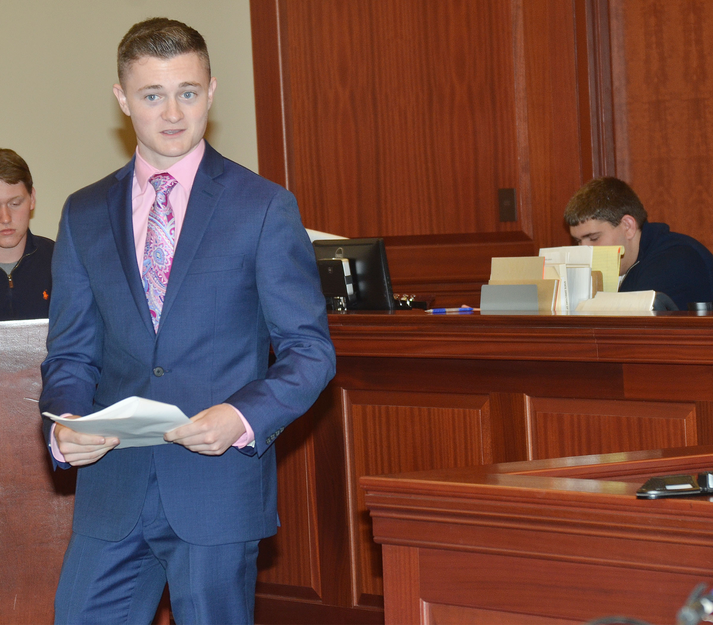 CHS junior Bryce Richardson gives his opening statement as the prosecutor.