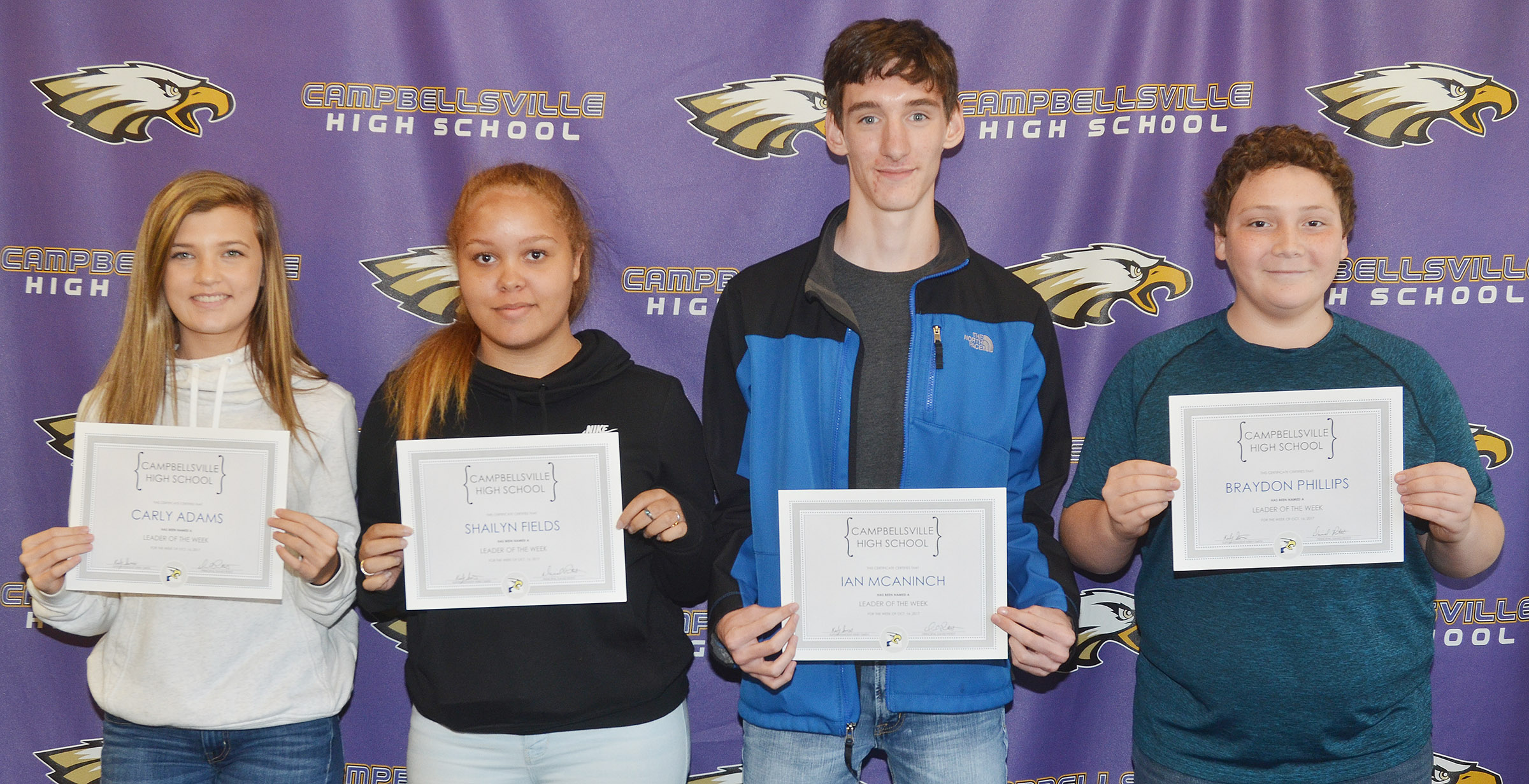 From left are freshman Carly Adams, senior Shailyn Fields, junior Ian McAninch and sophomore Braydon Phillips.