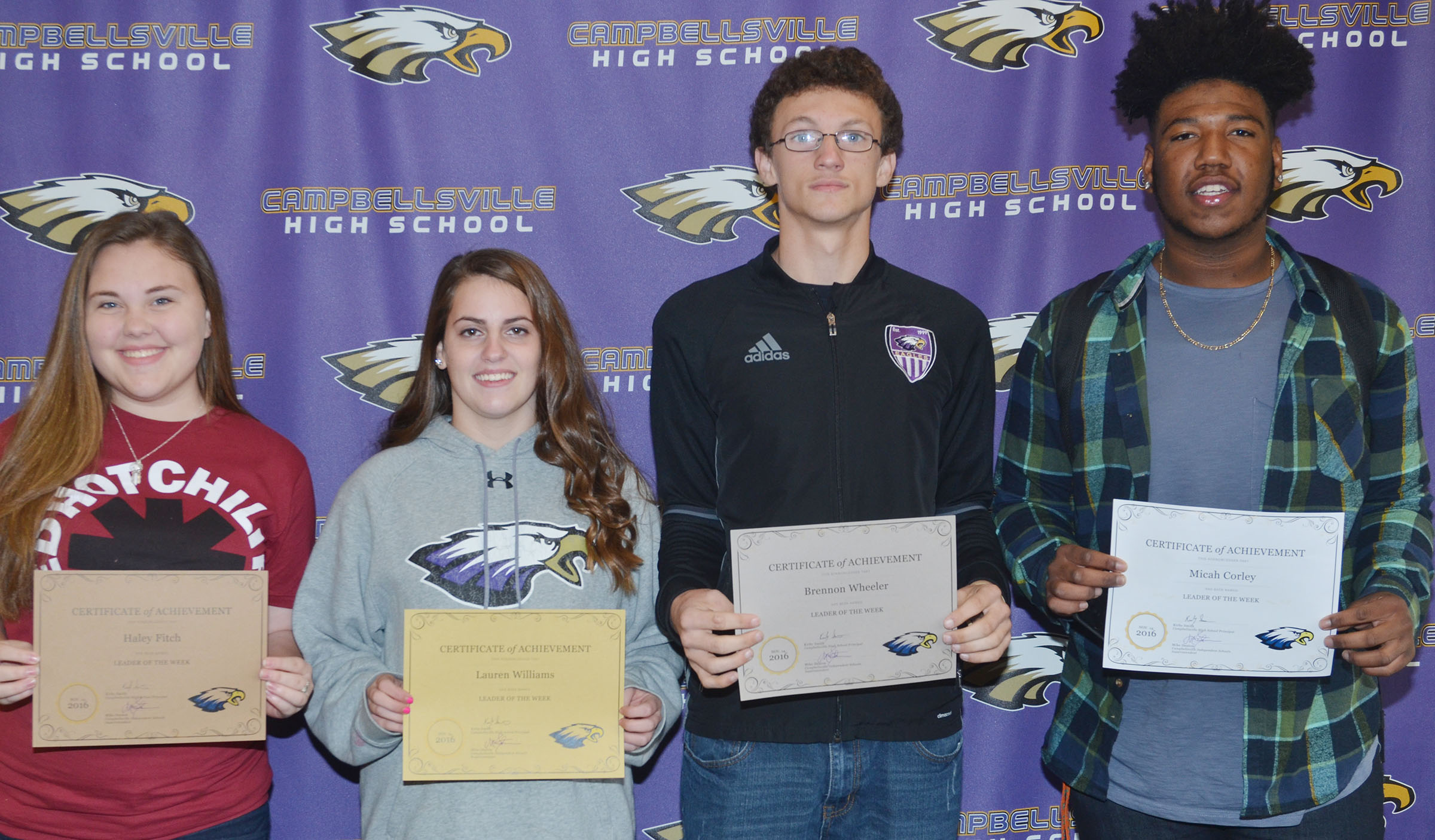 From left are junior Haley Fitch, sophomore Lauren Williams, freshman Brennon Wheeler and senior Micah Corley.