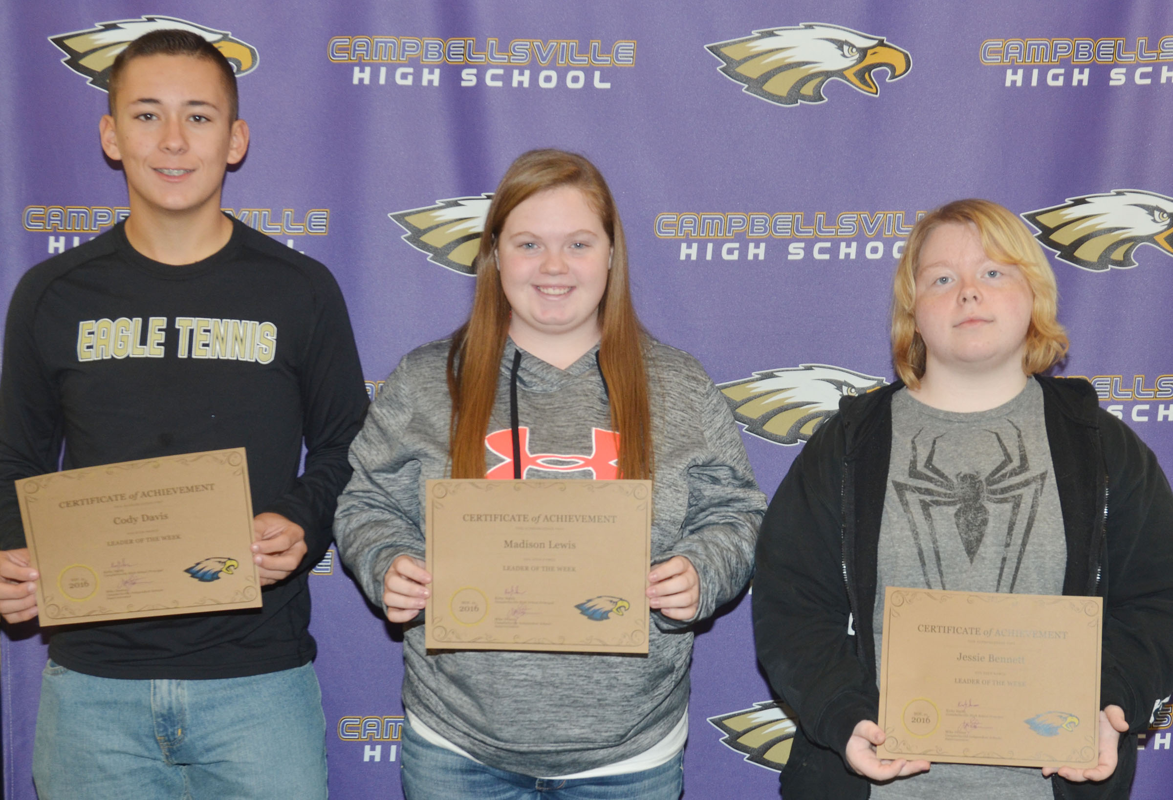 From left are junior Cody Davis, senior Madison Lewis and sophomore Jessie Bennett. Absent from the photo is freshman Grant Rinehart.