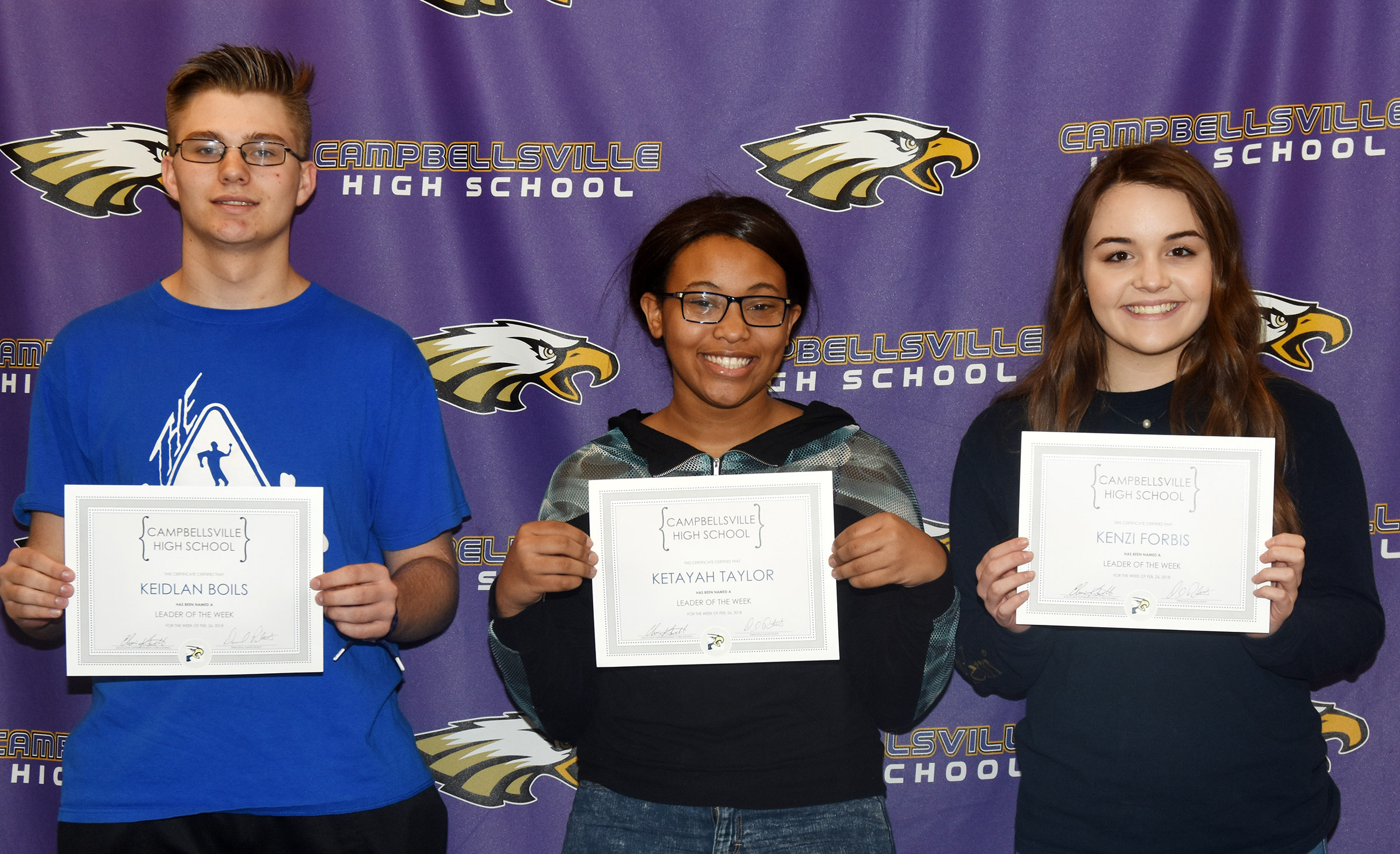 From left are junior Keidlan Boils, sophomore Ketayah Taylor and freshman Kenzi Forbis. Absent from the photo is senior Ryan Wiedewitsch.
