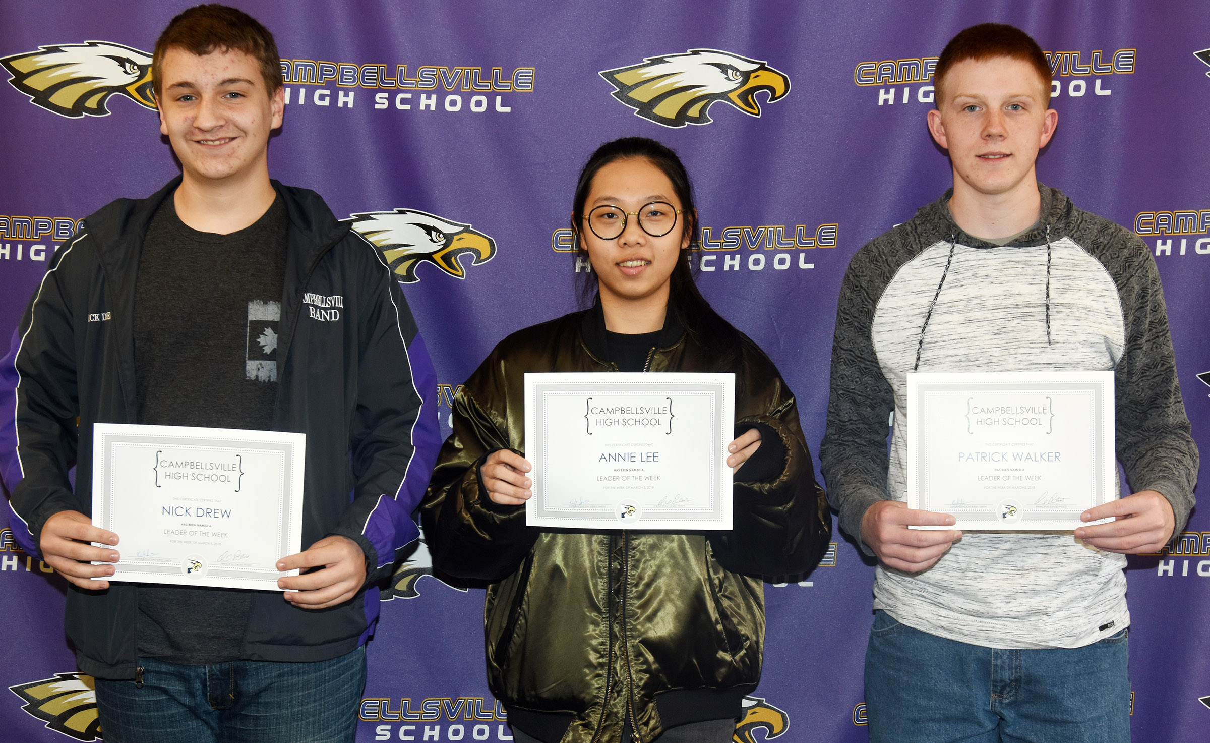 From left are freshman Nick Drew, junior Annie Lee and sophomore Patrick Walker. Absent from the photo is senior Makala Antle.