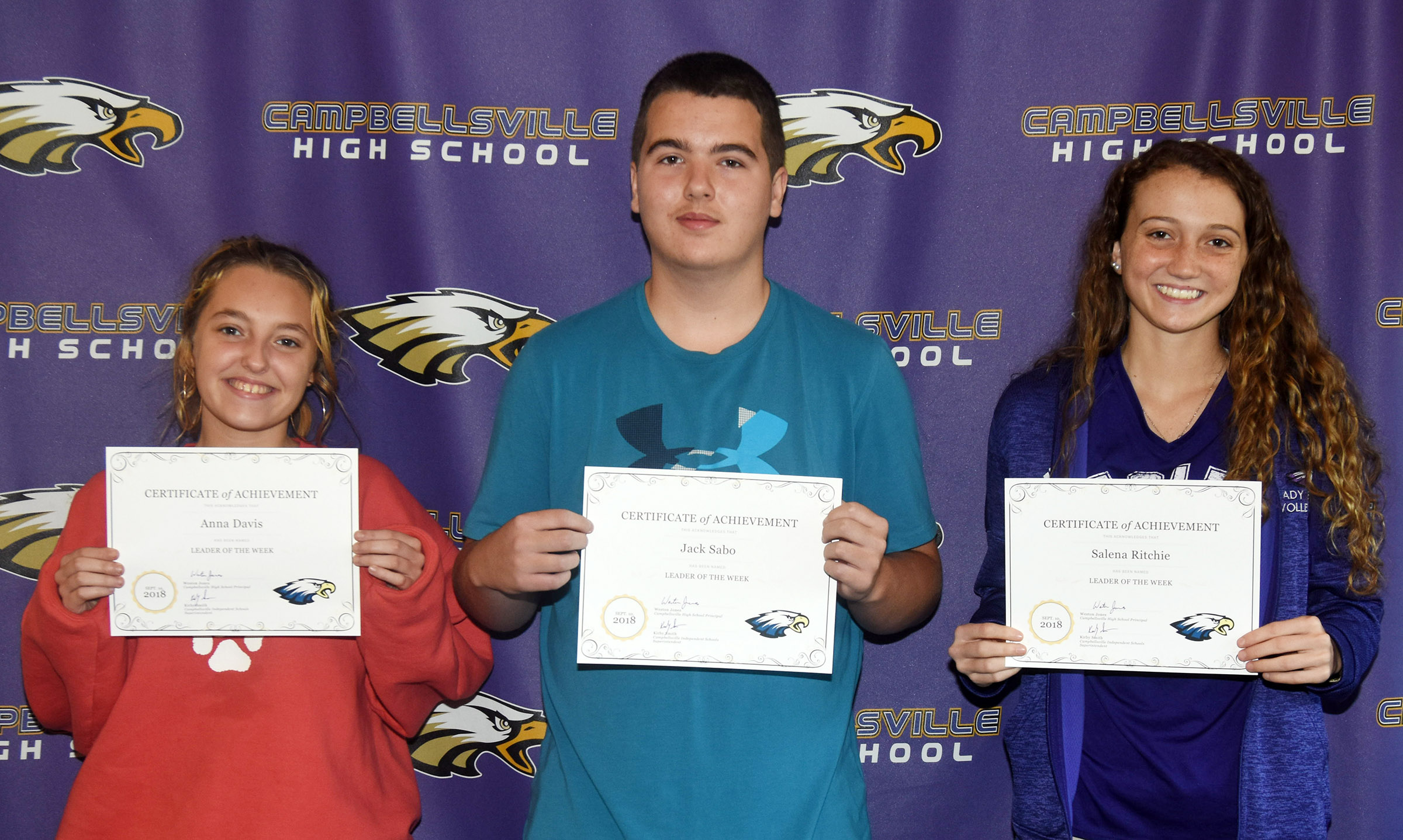 From left are sophomore Anna Davis, freshman Jack Sabo and senior Salena Ritchie. Absent from the photo is junior Brennon Wheeler.