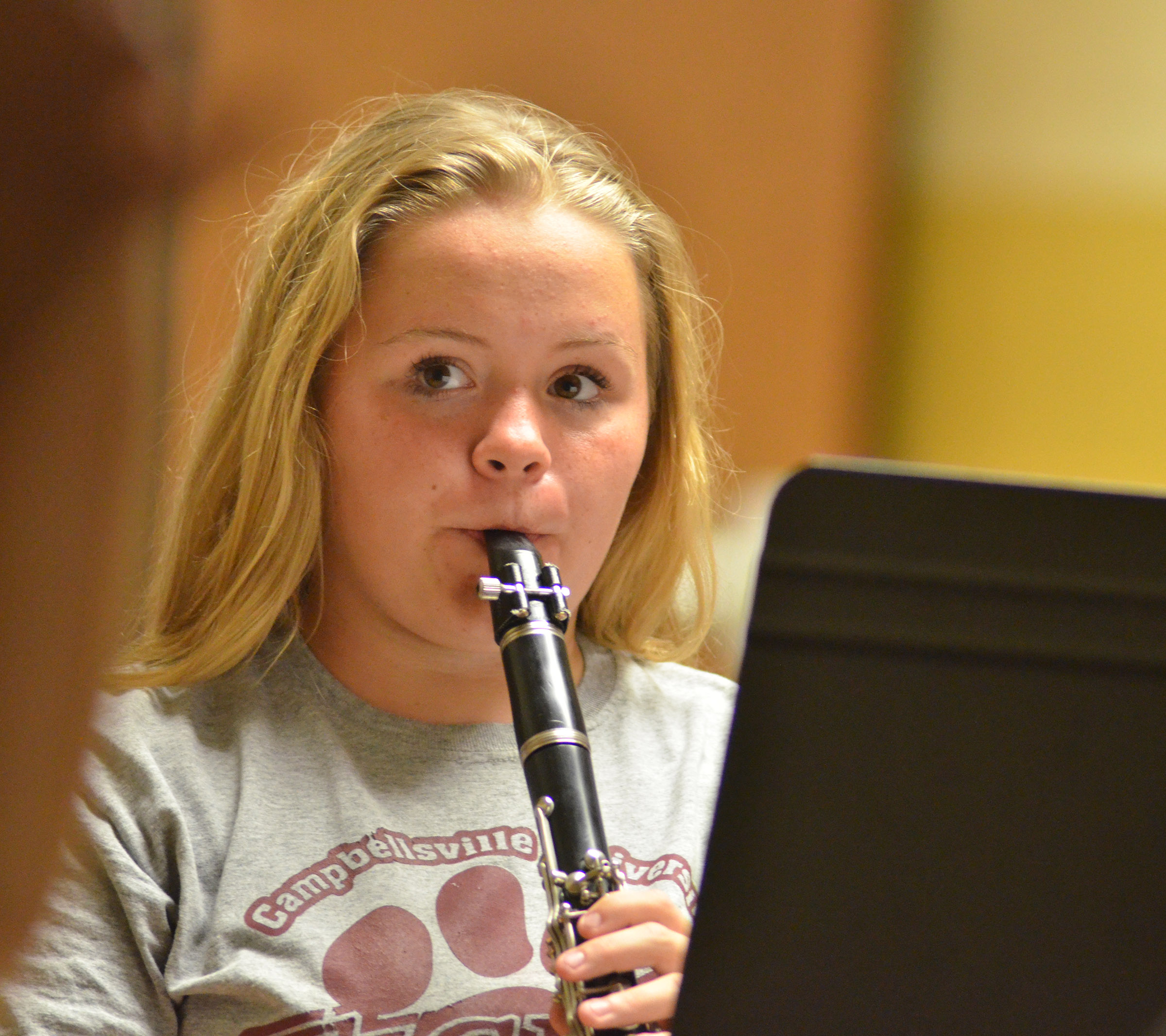 Campbellsville Middle School eighth-grader Riley Rainwater plays clarinet.
