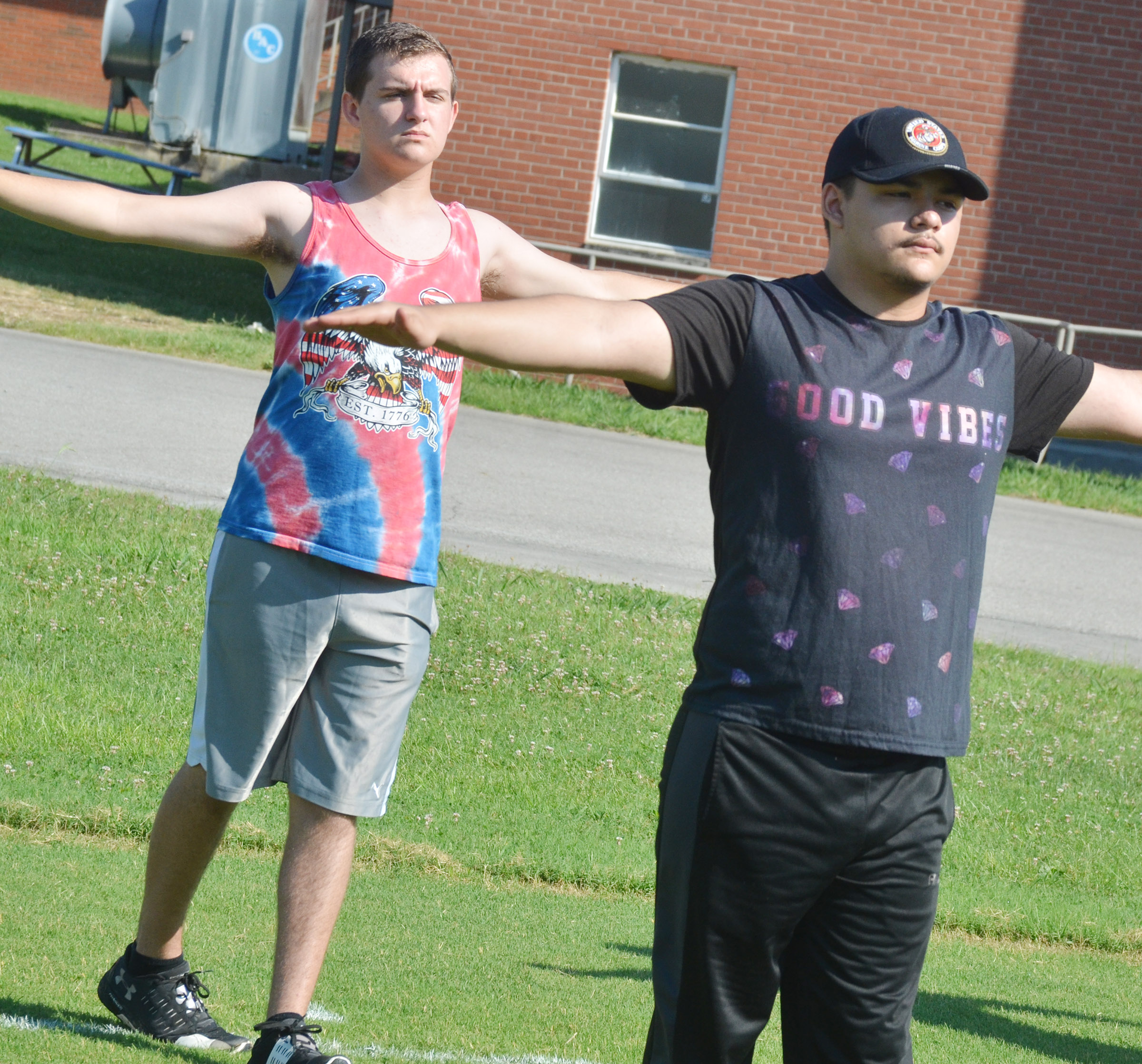 CHS senior Austin Fitzgerald, at left, and junior Nick Cowan practice fundamentals.